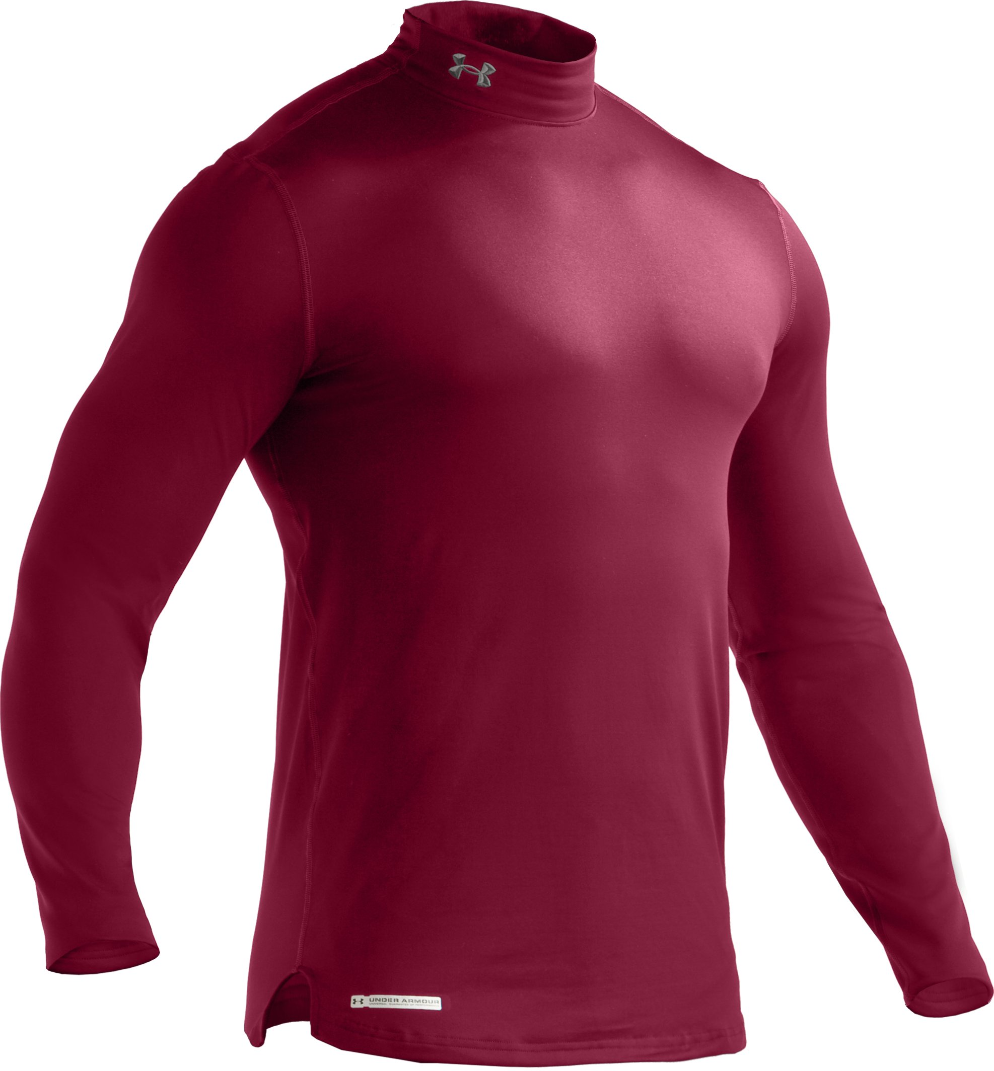 Men's ColdGear® Fitted Long Sleeve Mock, Maroon, undefined