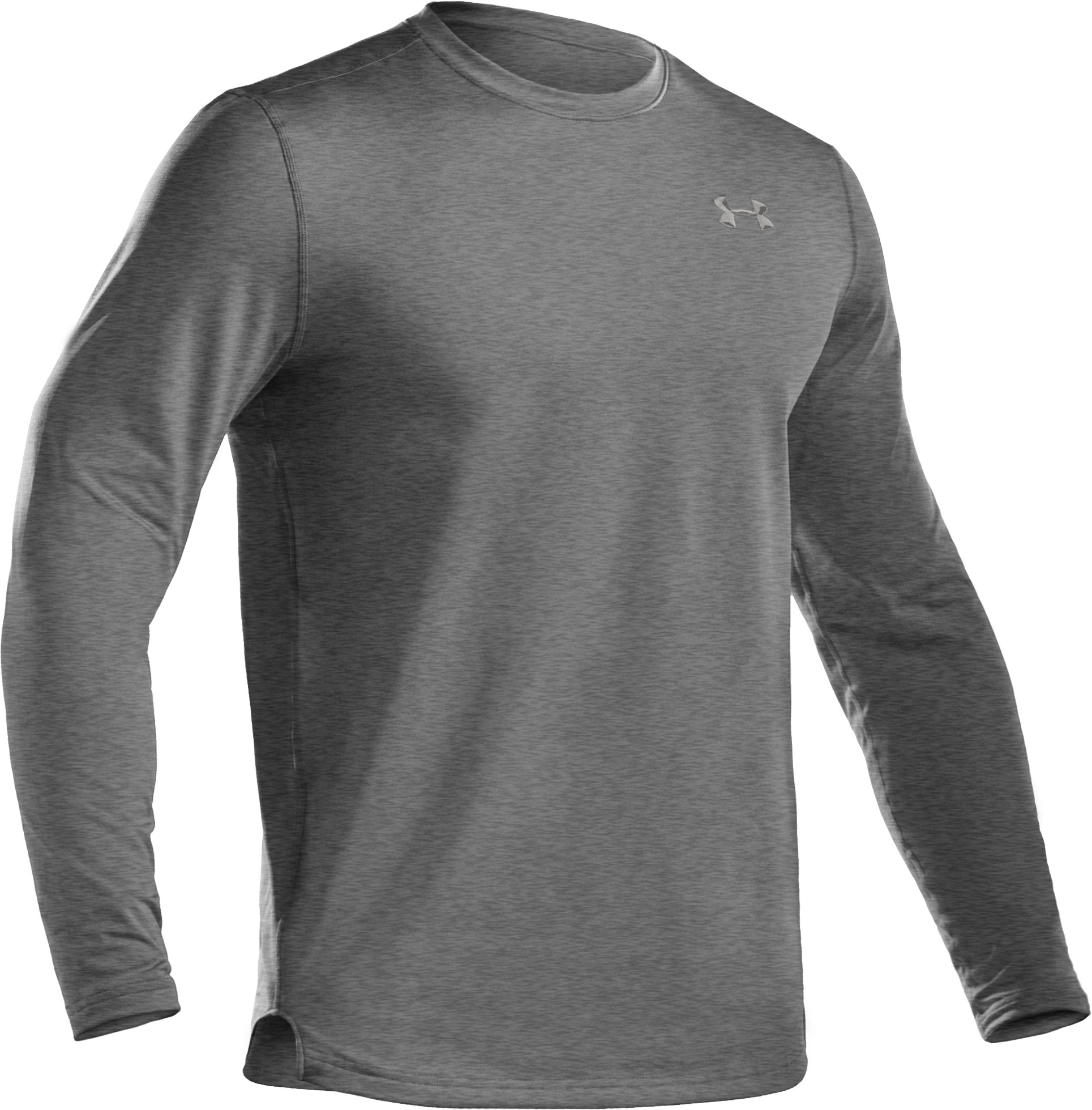 Men's ColdGear® Fitted Long Sleeve Crew, True Gray Heather