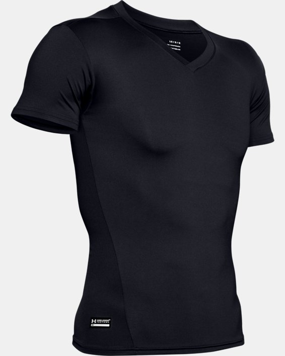 Men's Tactical HeatGear® Compression V-Neck T-Shirt, Black, pdpMainDesktop image number 8