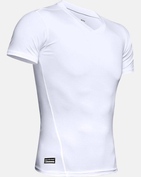 Men's Tactical HeatGear® Compression V-Neck T-Shirt, White, pdpMainDesktop image number 8