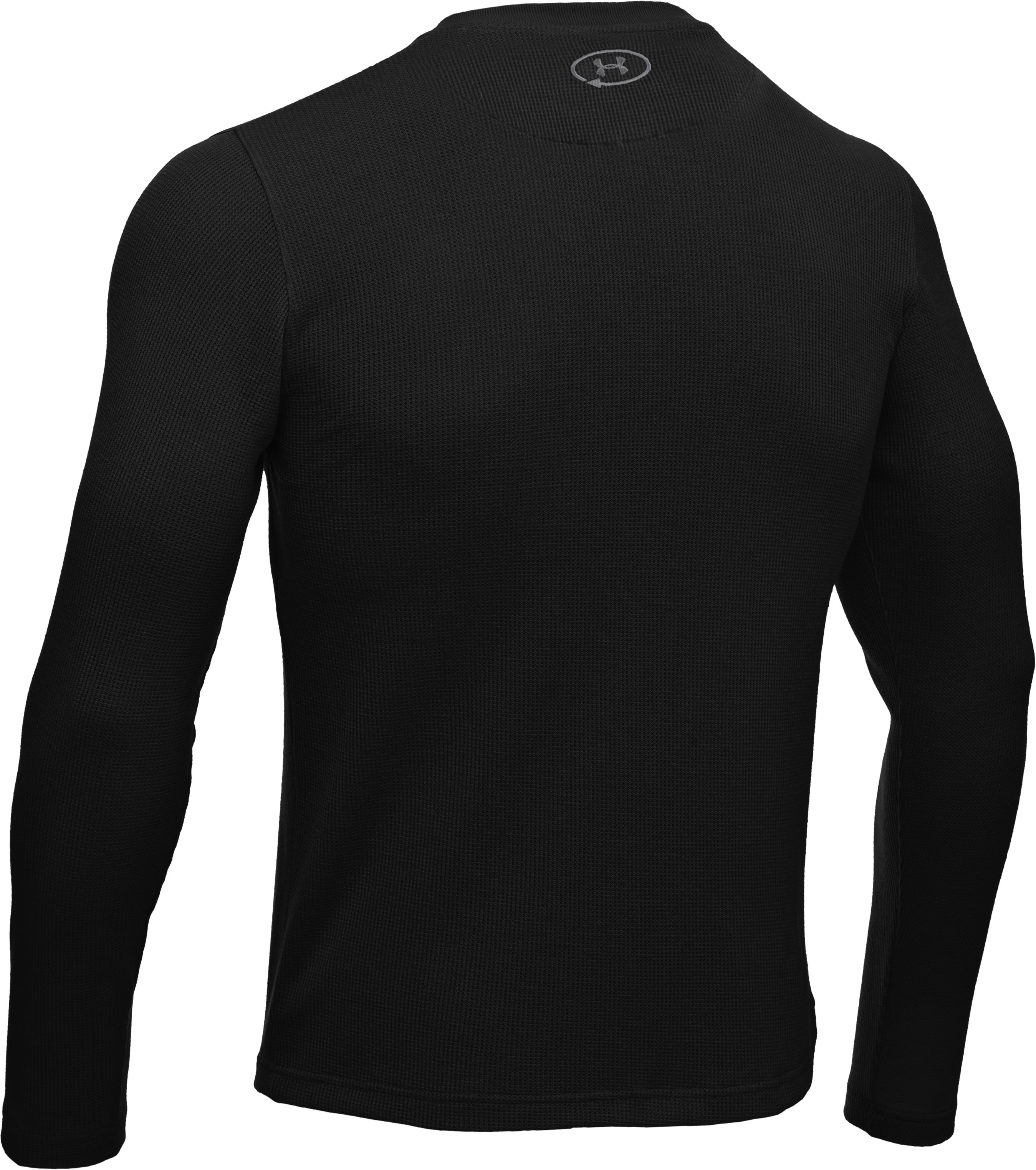 Men's Long Sleeve Waffle Crew, Black , undefined