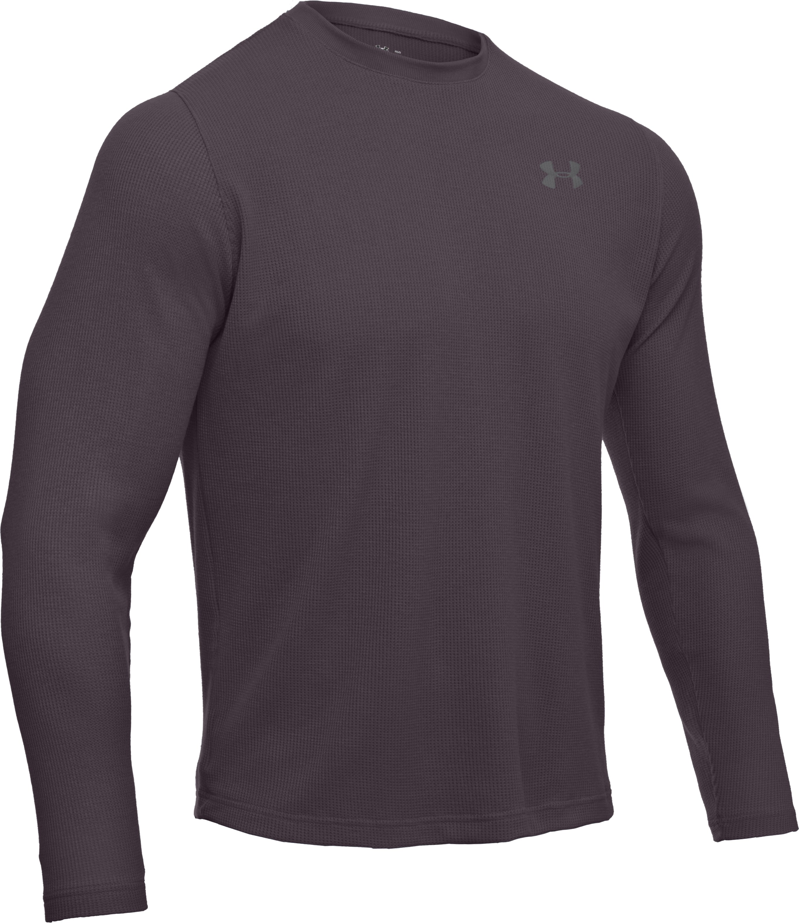 Men's Long Sleeve Waffle Crew, Charcoal, undefined