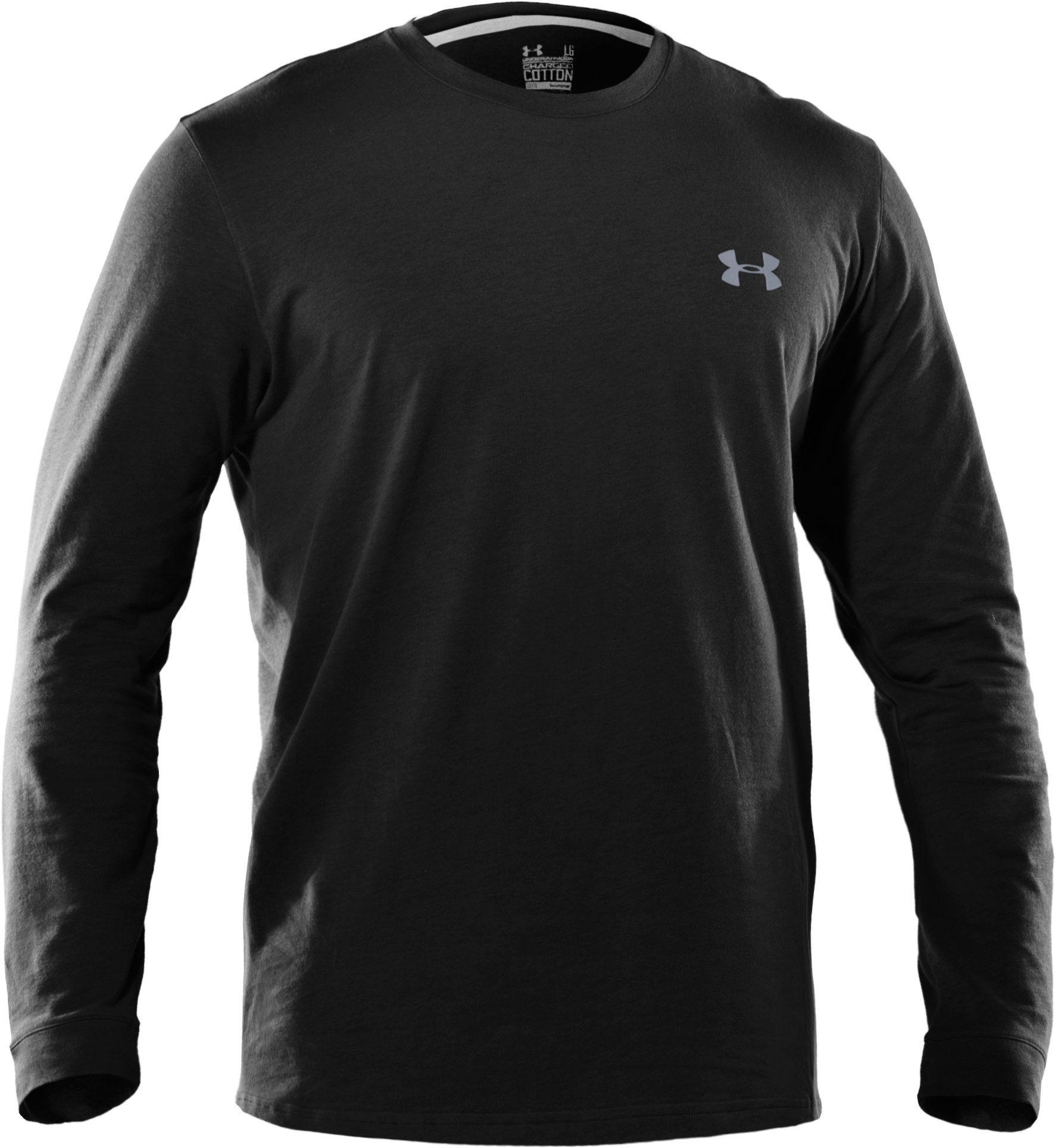 Men's UA Charged Cotton® Long Sleeve T-Shirt, Black ,