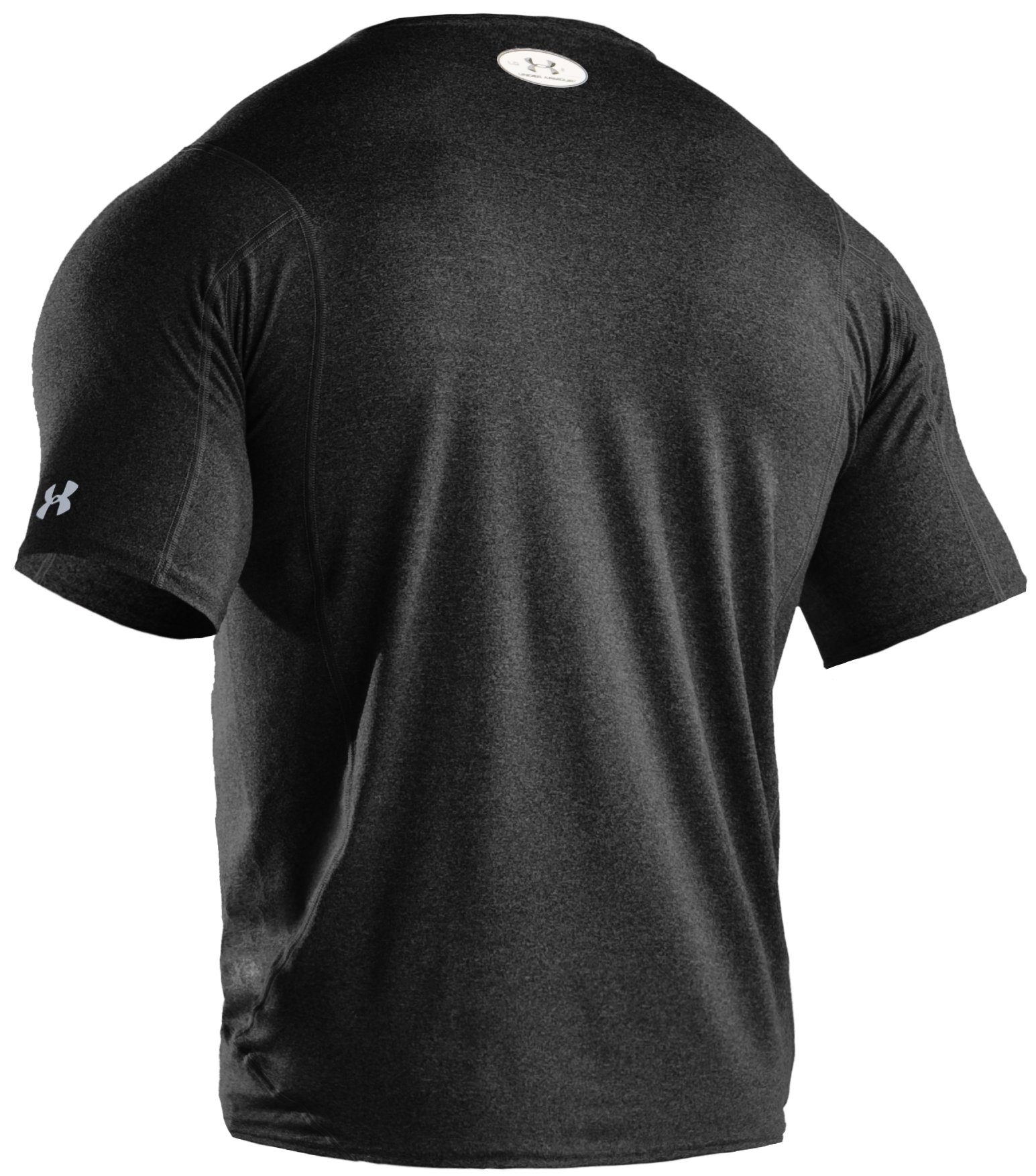 Men's UA HeatGear® Touch Fitted Short Sleeve Crew, Black , undefined