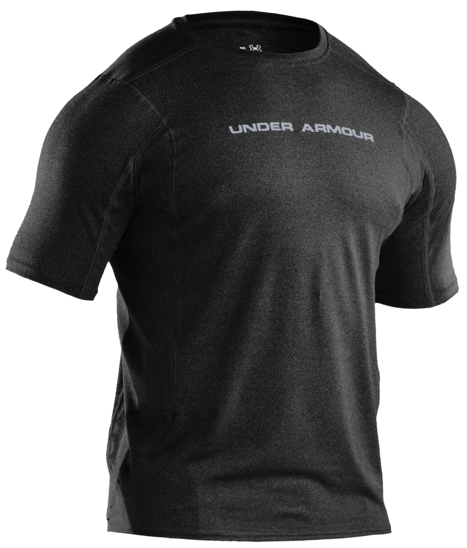 Men's UA HeatGear® Touch Fitted Short Sleeve Crew, Black
