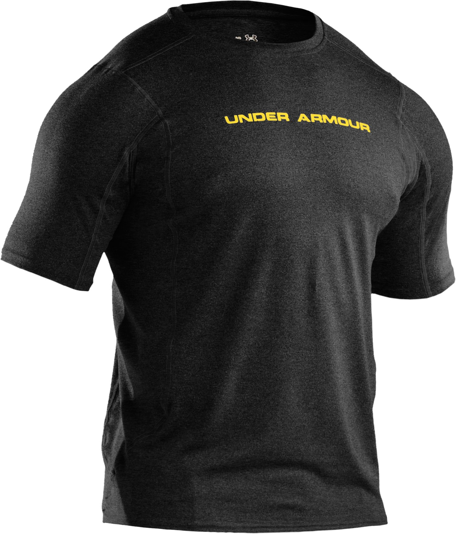Men's UA HeatGear® Touch Fitted Short Sleeve Crew, Asphalt Heather