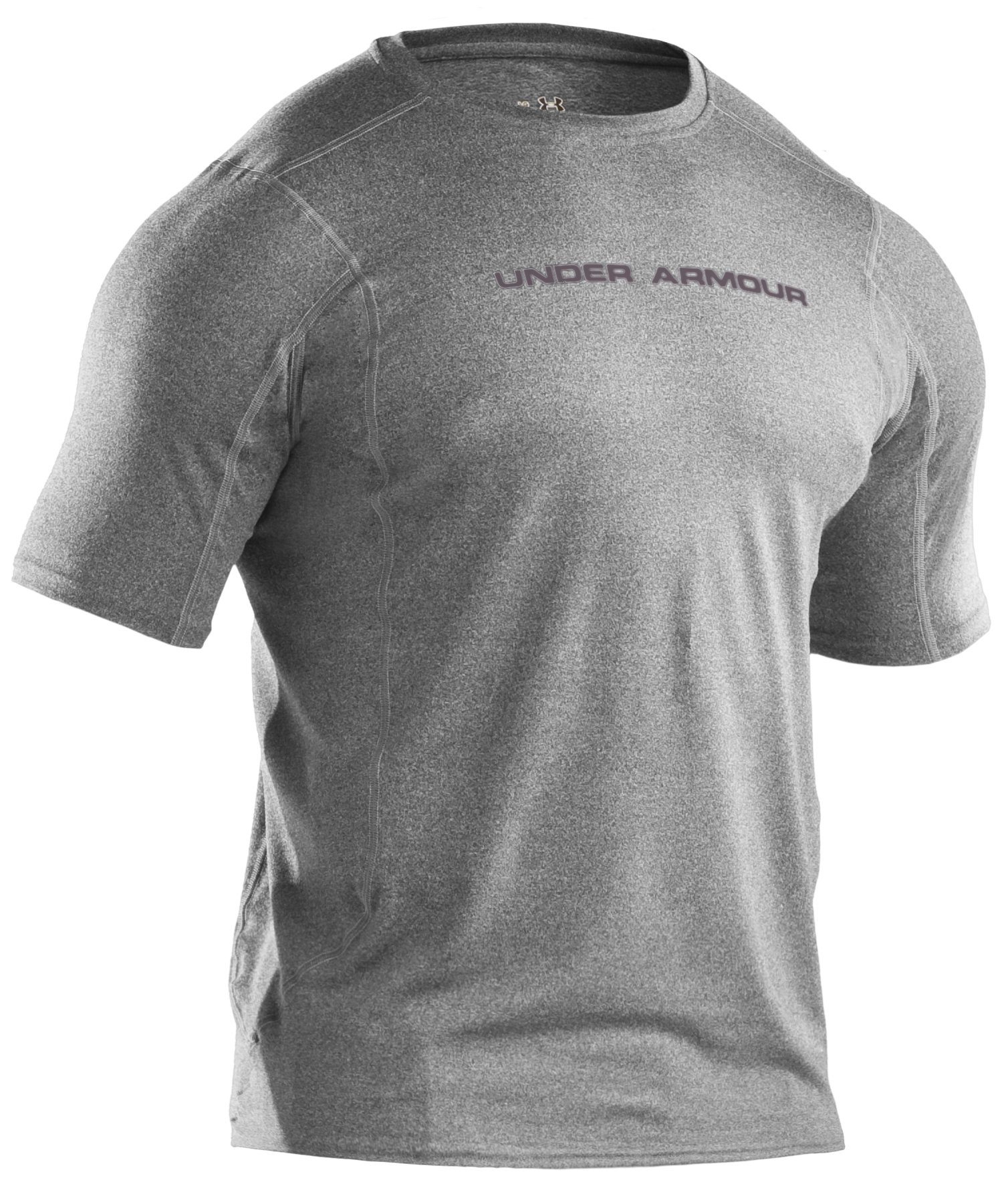 Men's UA HeatGear® Touch Fitted Short Sleeve Crew, True Gray Heather, undefined