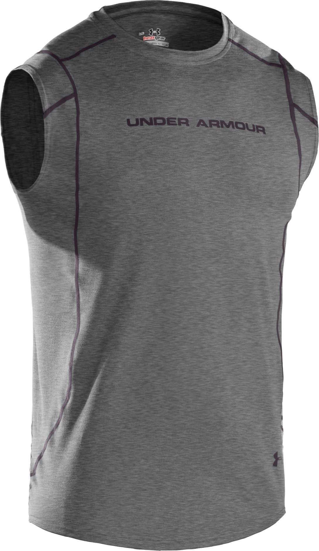 Men's UA HeatGear® Touch Fitted Sleeveless Crew, True Gray Heather