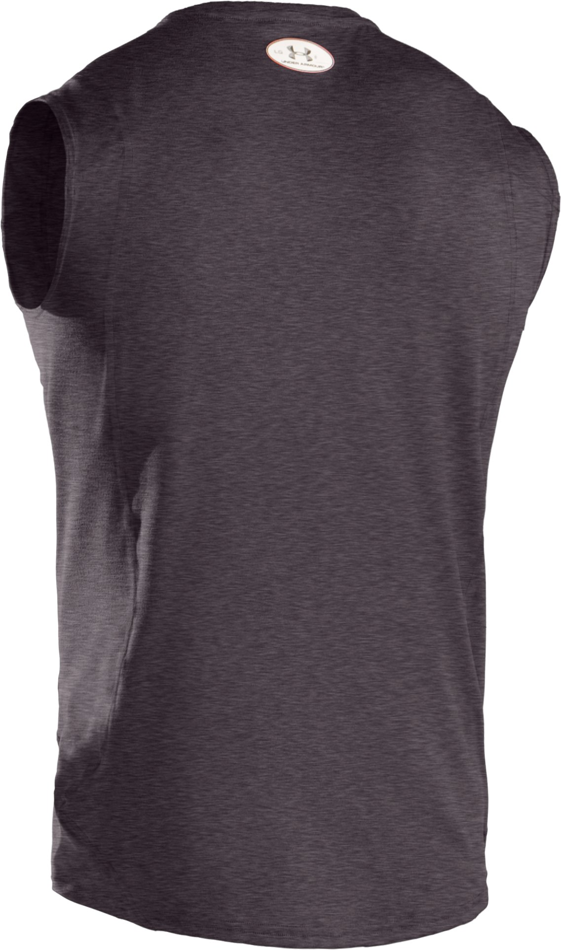 Men's UA HeatGear® Touch Fitted Sleeveless Crew, Carbon Heather, undefined