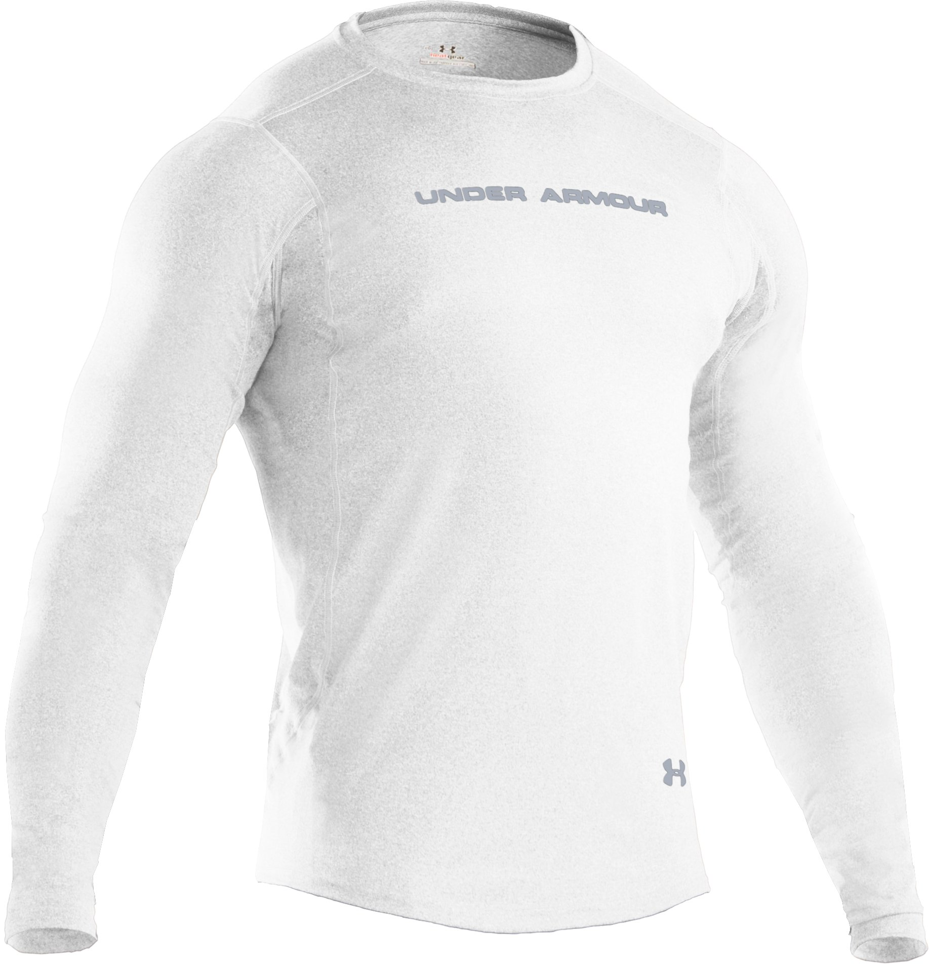 Men's UA HeatGear® Touch Fitted Long Sleeve Crew, White, undefined