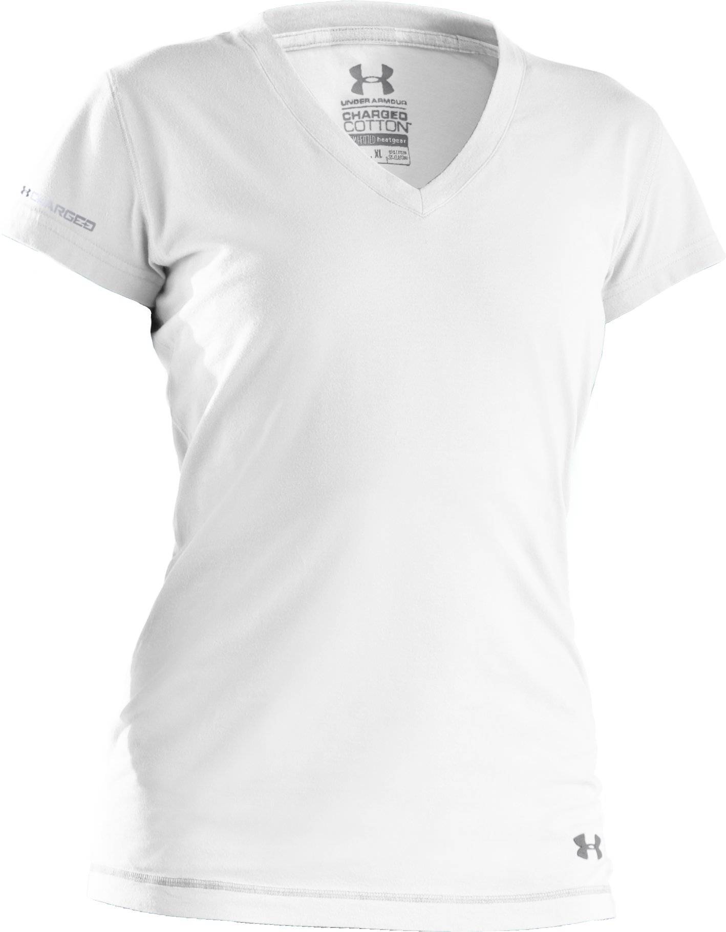 Women's UA Charged Cotton® Plunge V-Neck T-Shirt, White