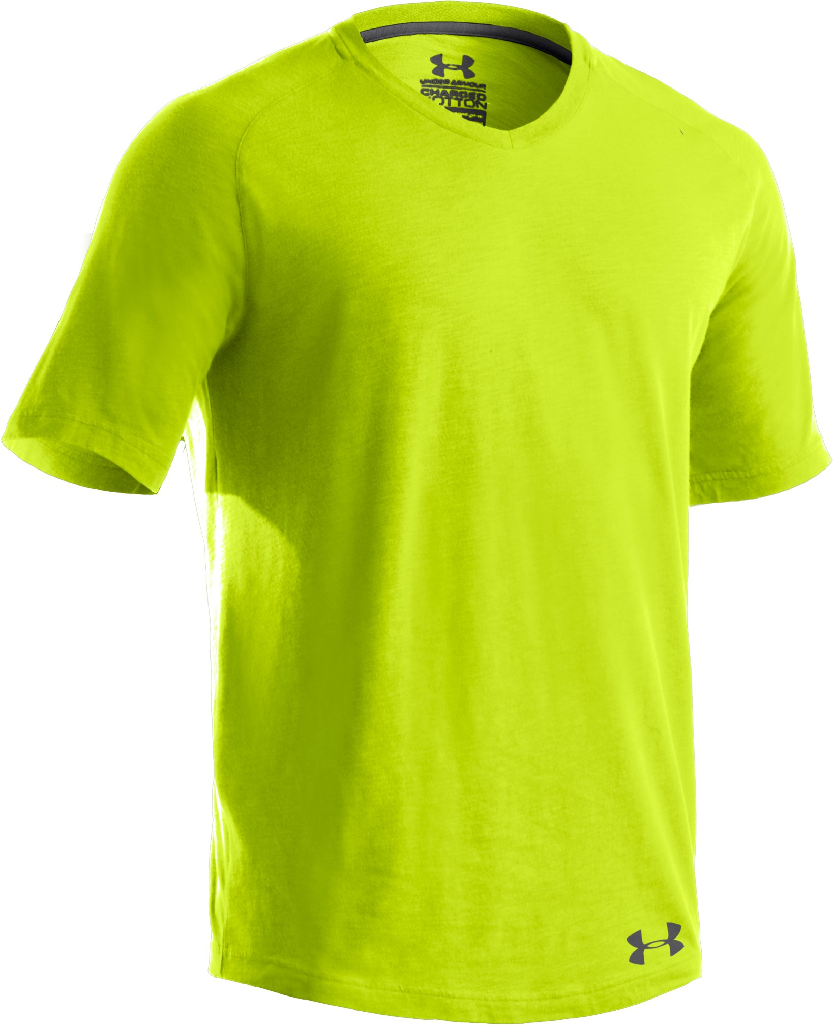Men's UA Charged Cotton® Slub V-Neck T-Shirt, Velocity