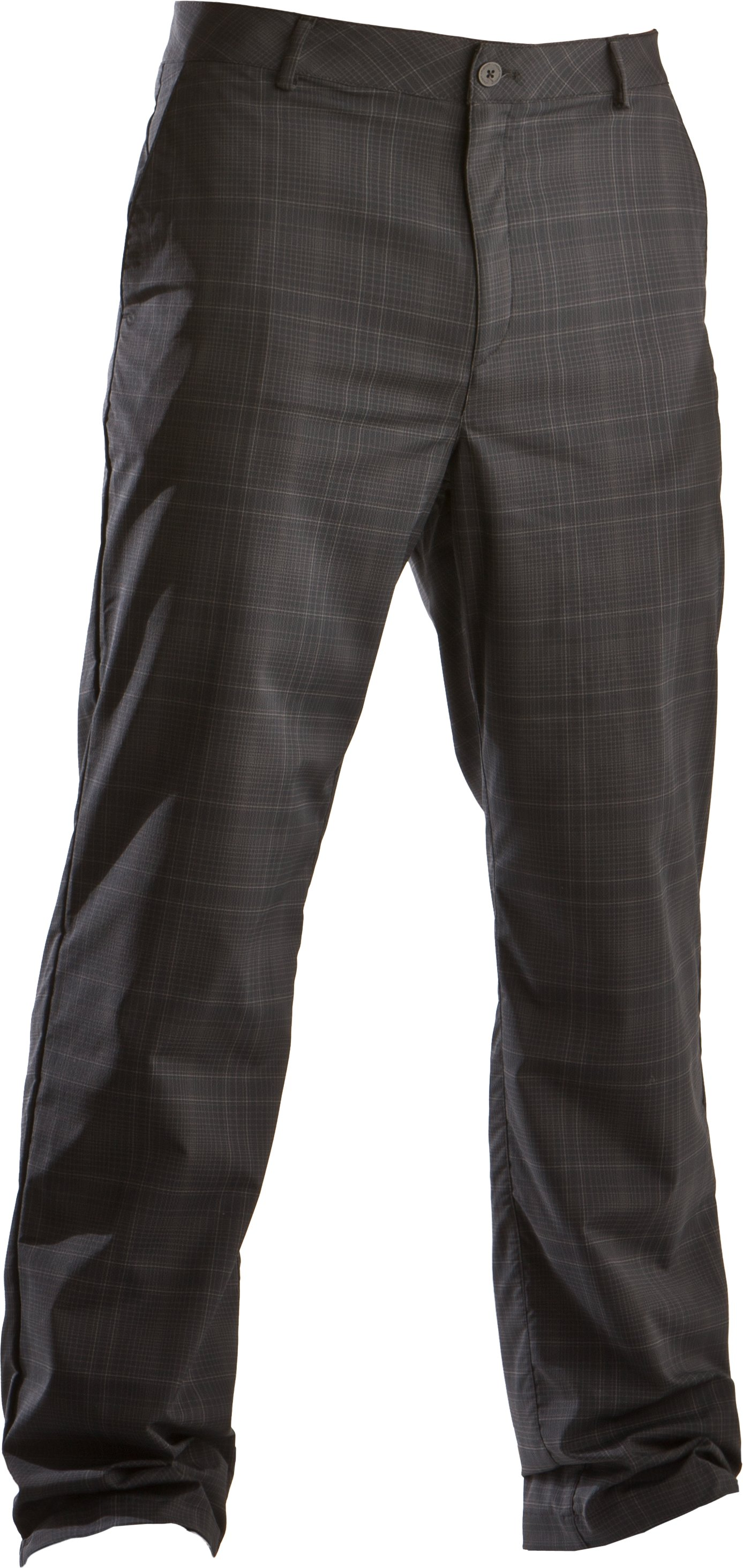 Men's Performance Plaid Golf Pants, Black