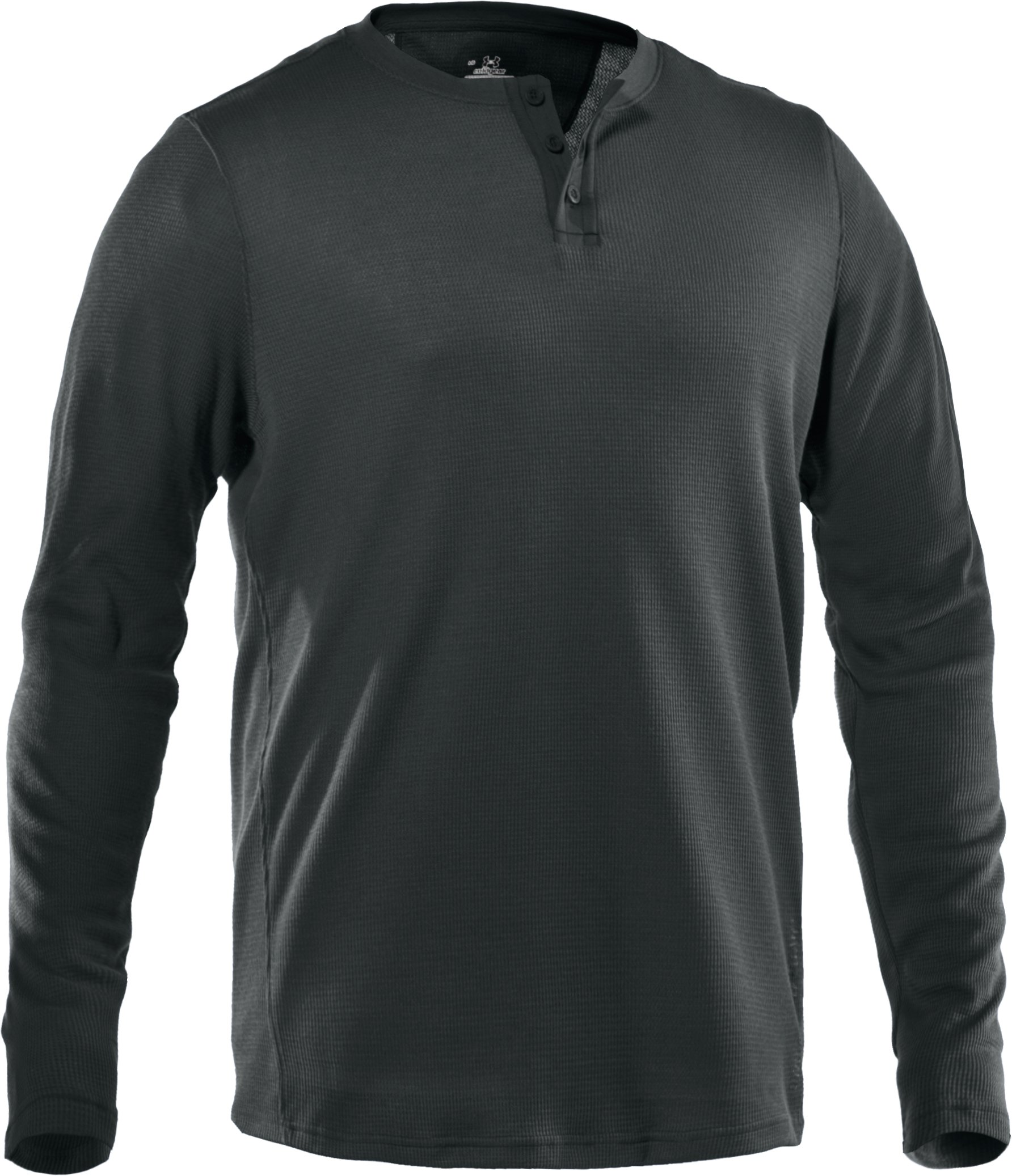 Men's Long Sleeve Waffle Henley Shirt, Battleship, undefined