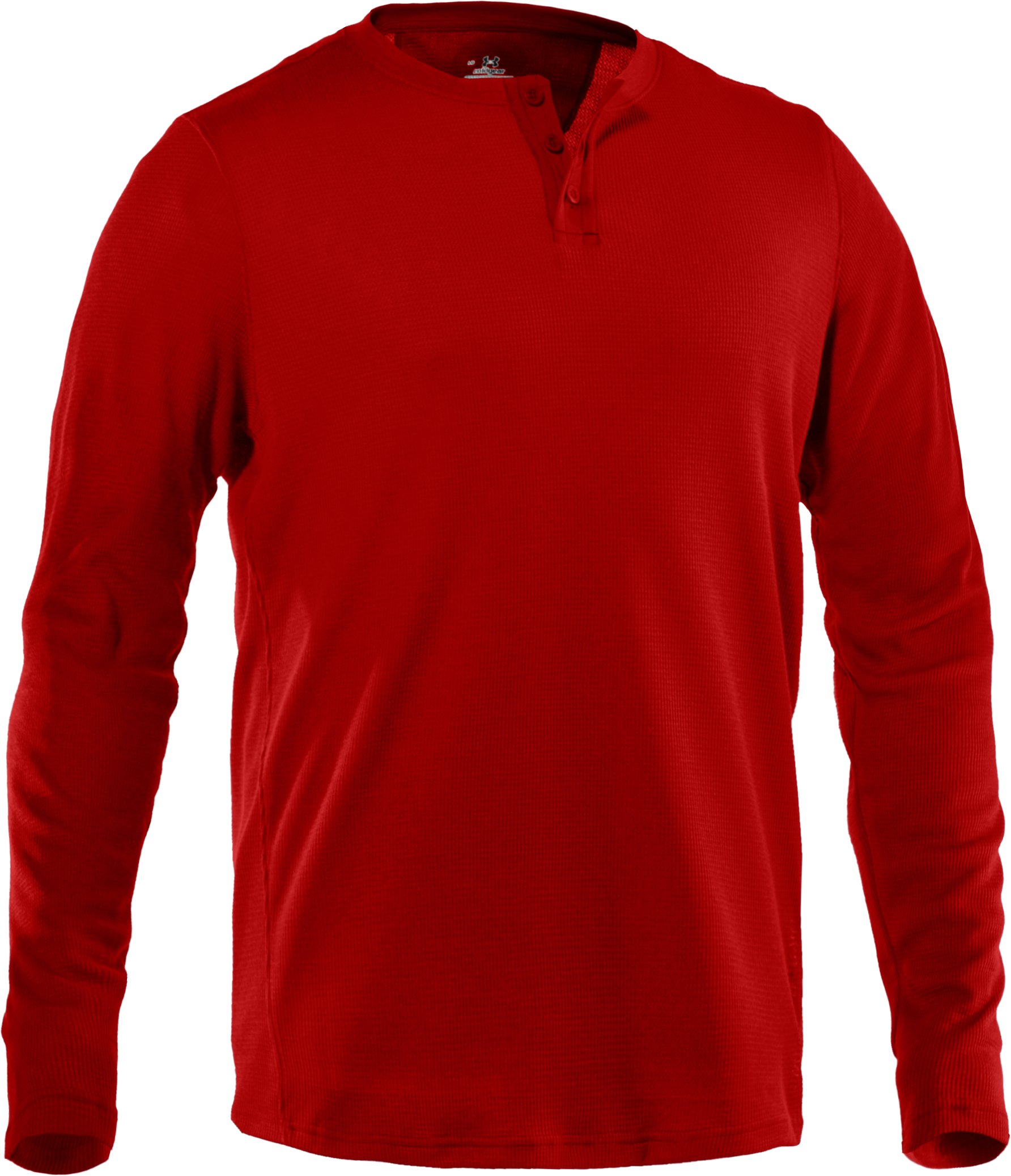 Men's Long Sleeve Waffle Henley Shirt, Fireball