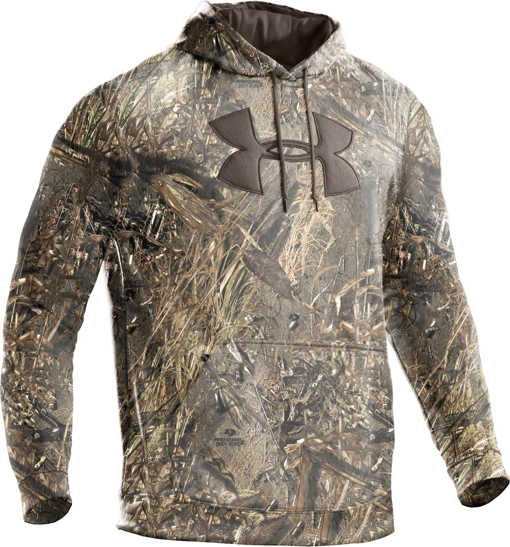 Men's Armour® Fleece Big Logo Camo Hoodie, Duck Blind, undefined