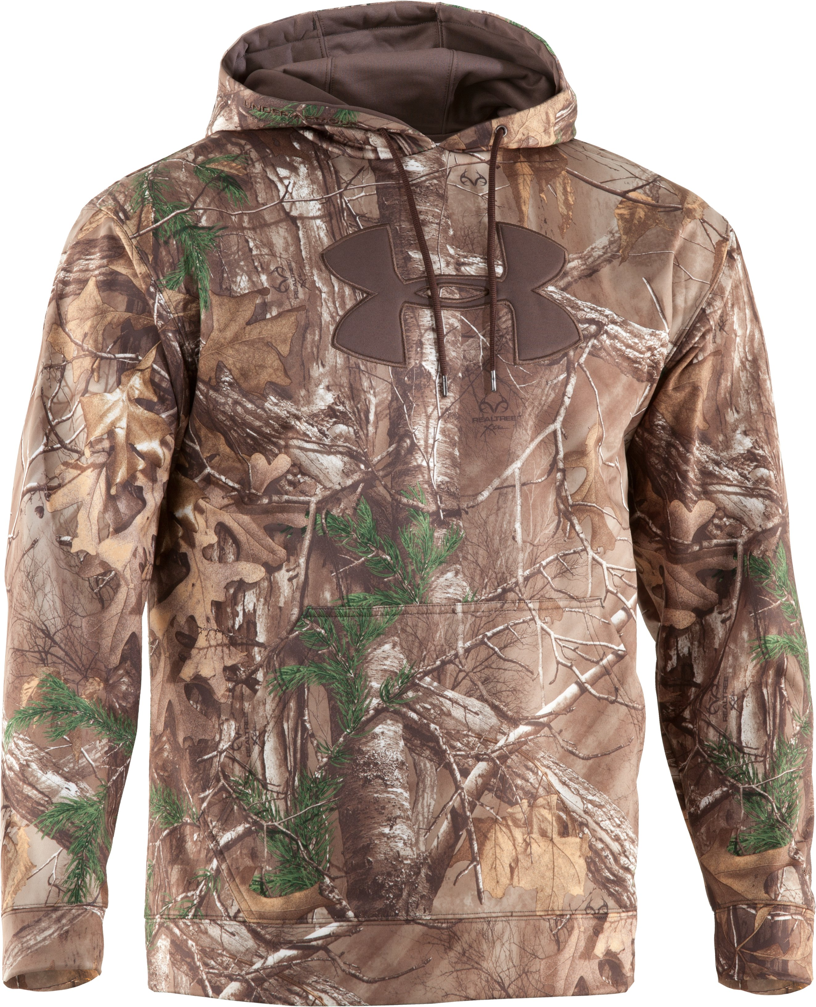 Men's Armour® Fleece Big Logo Camo Hoodie, REALTREE AP-XTRA,