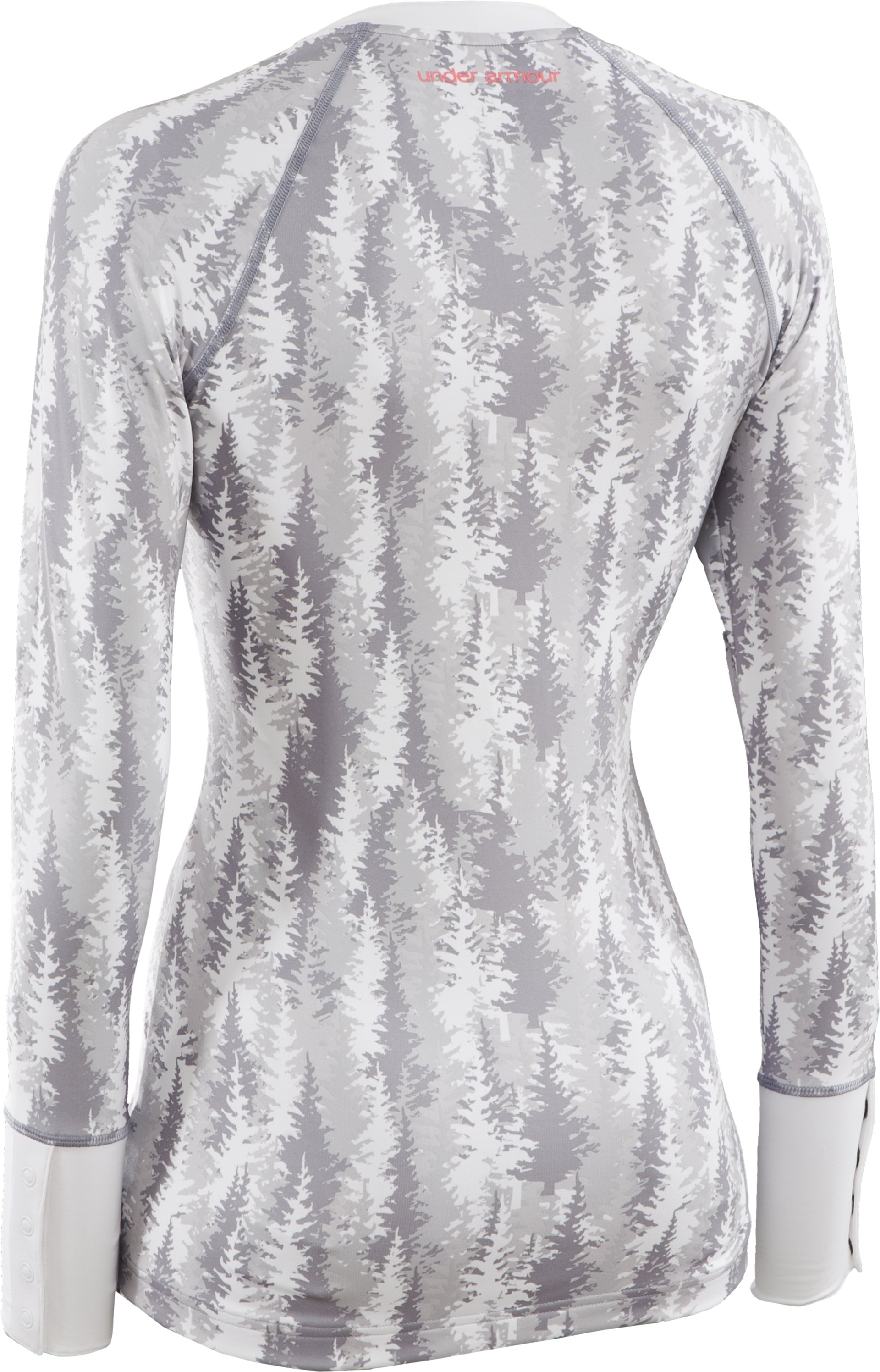 Women's EVO ColdGear® Tree Print Henley Shirt, White, undefined