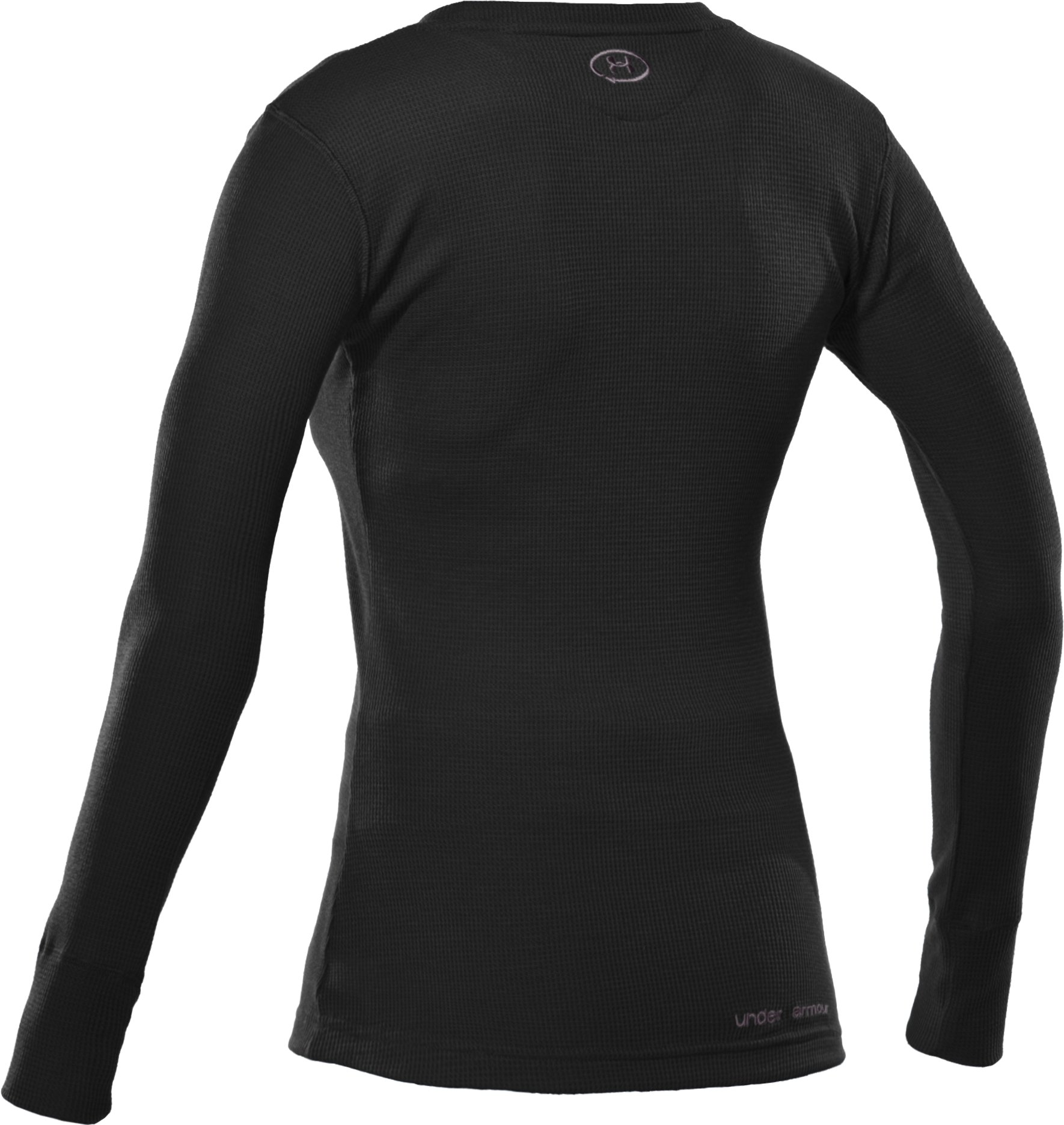 Women's Waffle Long Sleeve Crew Neck, Black