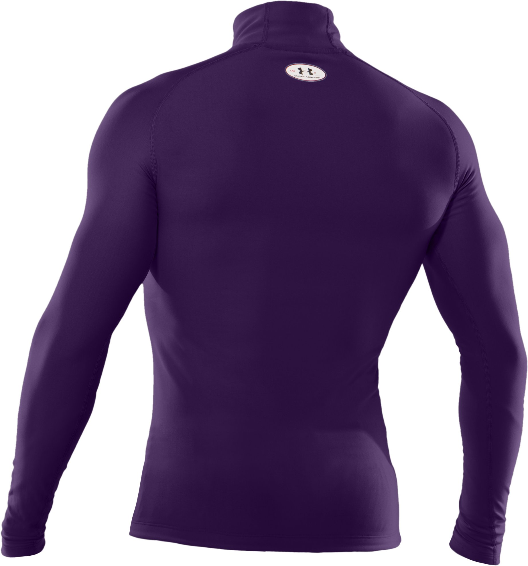 Men's ColdGear® Evo Long Sleeve Compression Mock, Purple, undefined
