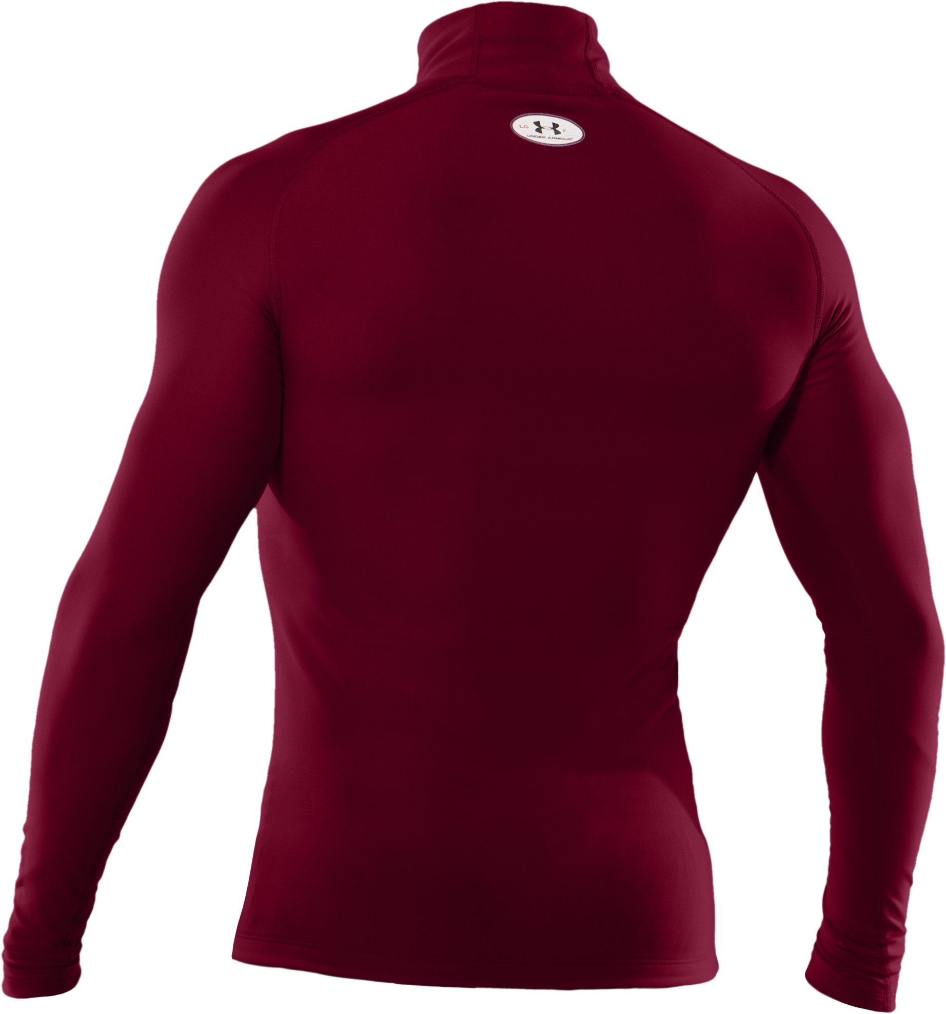 Men's ColdGear® Evo Long Sleeve Compression Mock, Maroon,