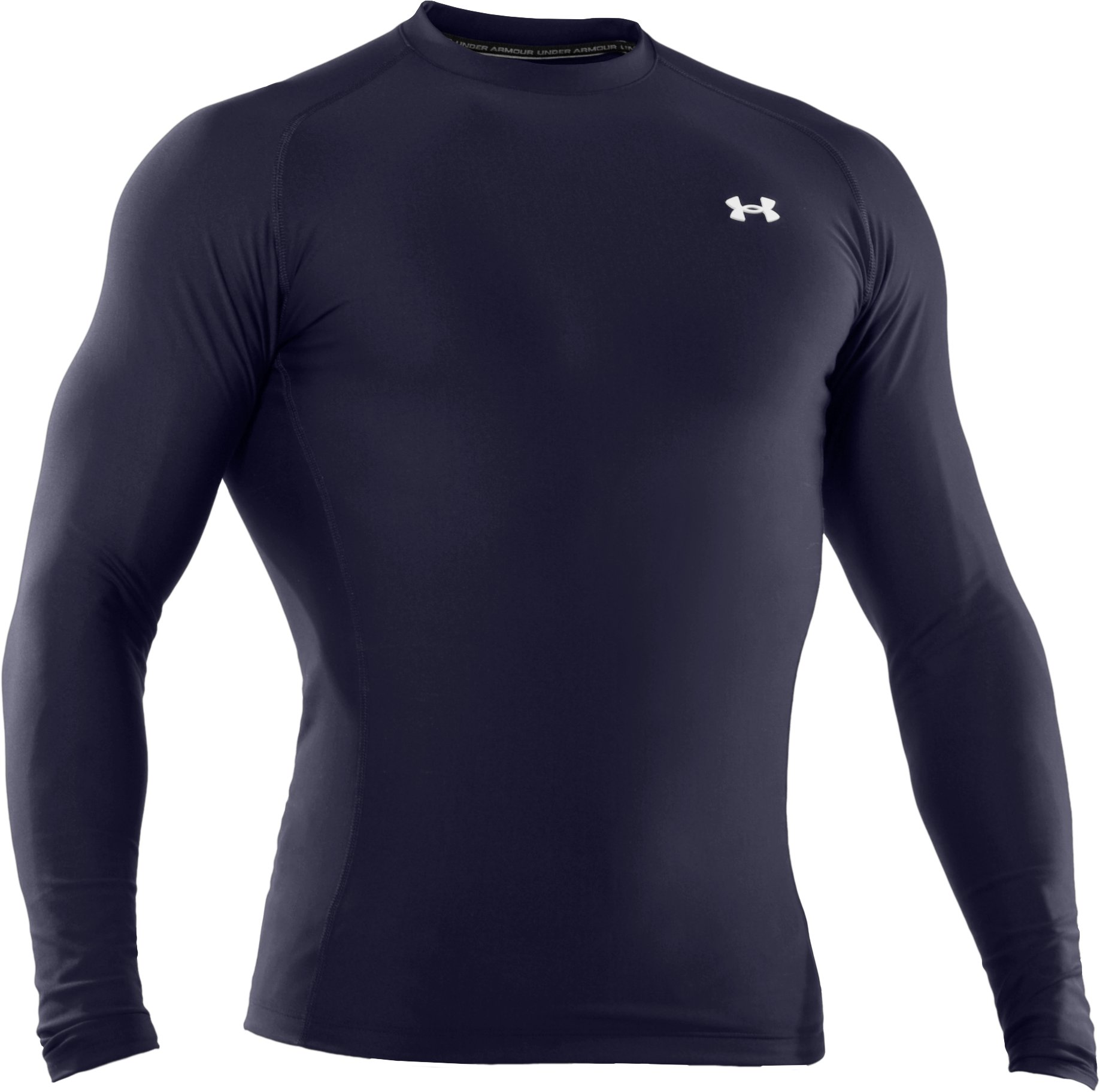 Men's ColdGear® Long Sleeve Compression Crew, Midnight Navy, undefined