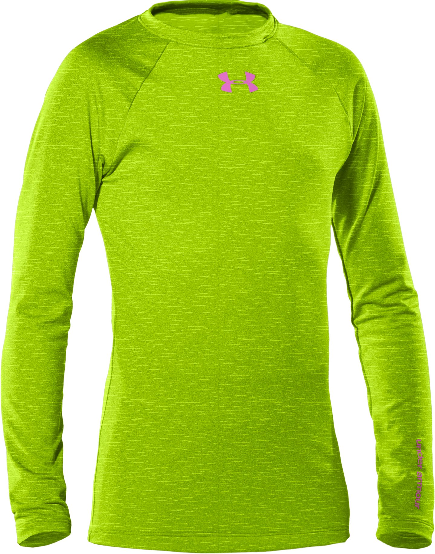 Girls' ColdGear® Fitted Long Sleeve Crew, HYPER GREEN, zoomed image