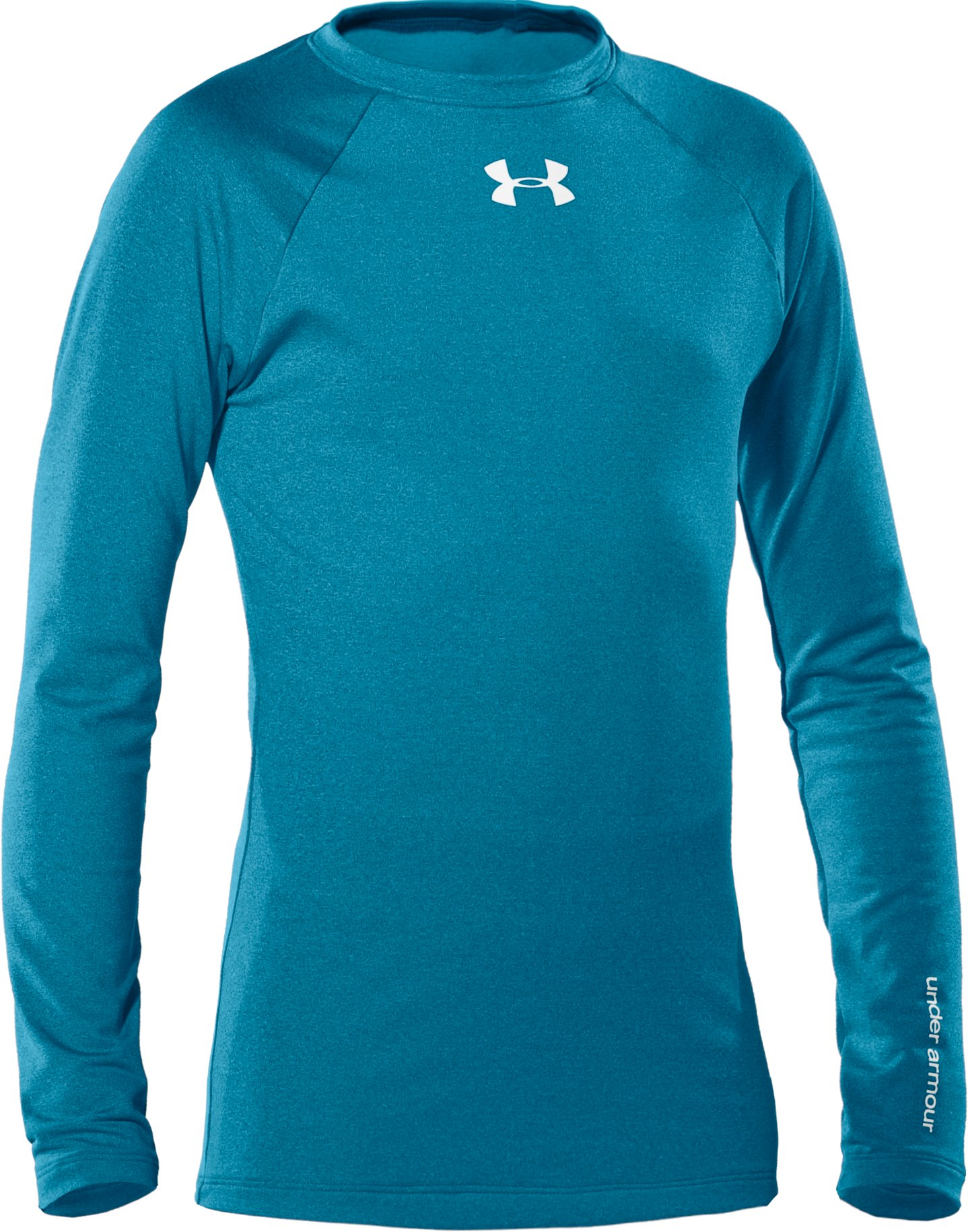 Girls' ColdGear® Fitted Long Sleeve Crew, Break, zoomed image