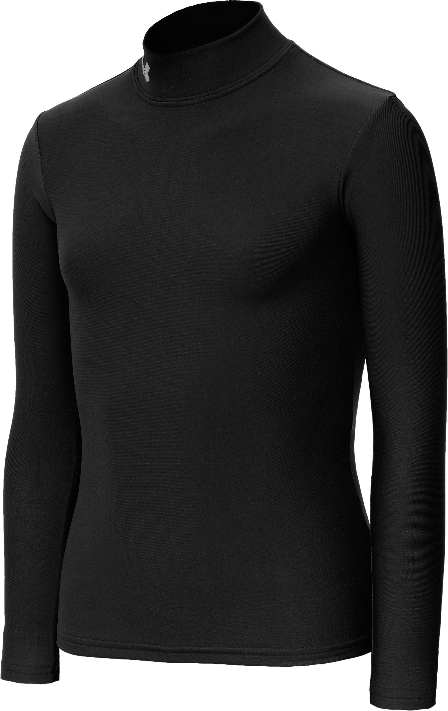 Girls' ColdGear® Fitted Long Sleeve Mock, Black , zoomed image