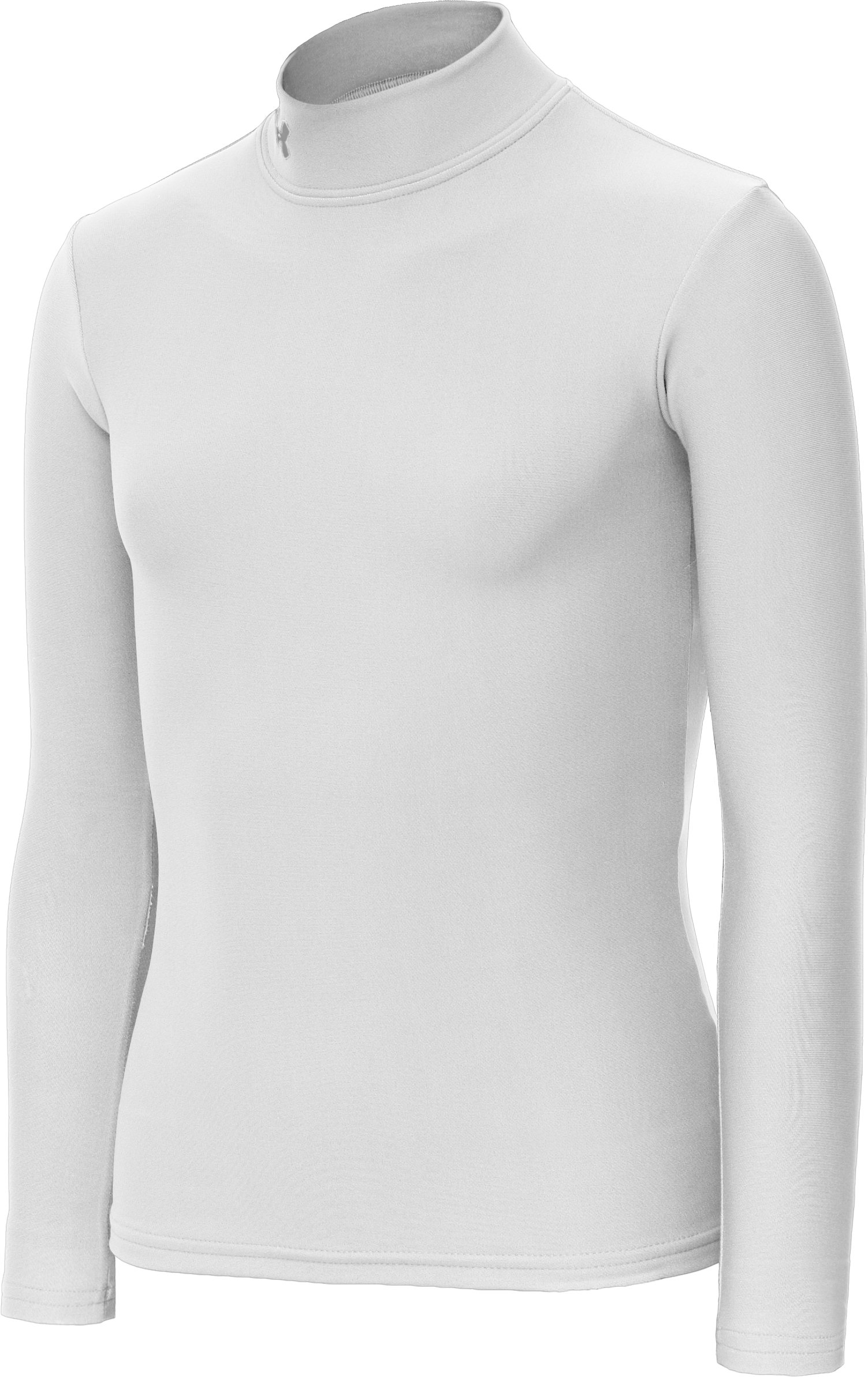 Girls' ColdGear® Fitted Long Sleeve Mock, White, zoomed image
