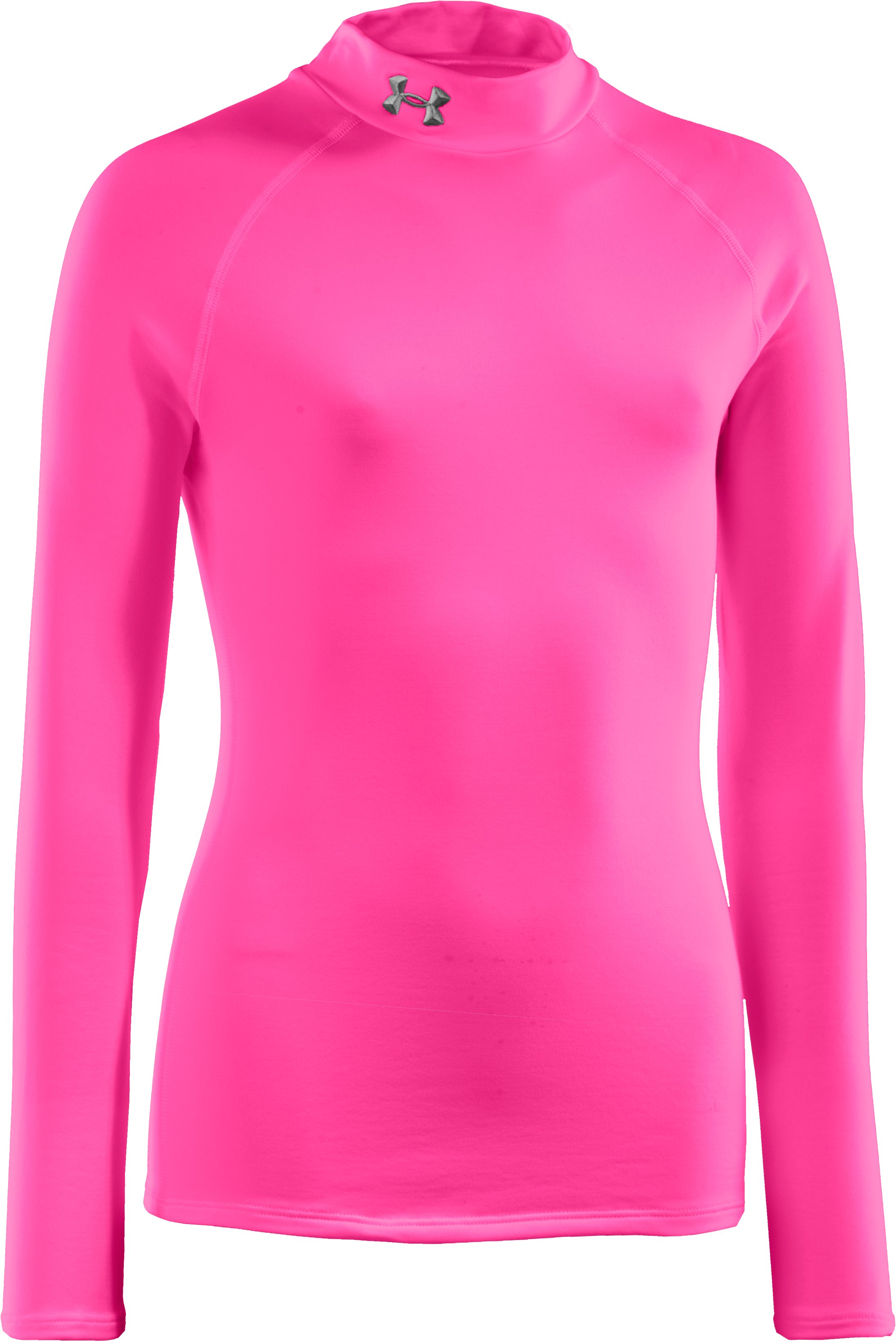 Girls' ColdGear® Fitted Long Sleeve Mock, PINKADELIC, zoomed image