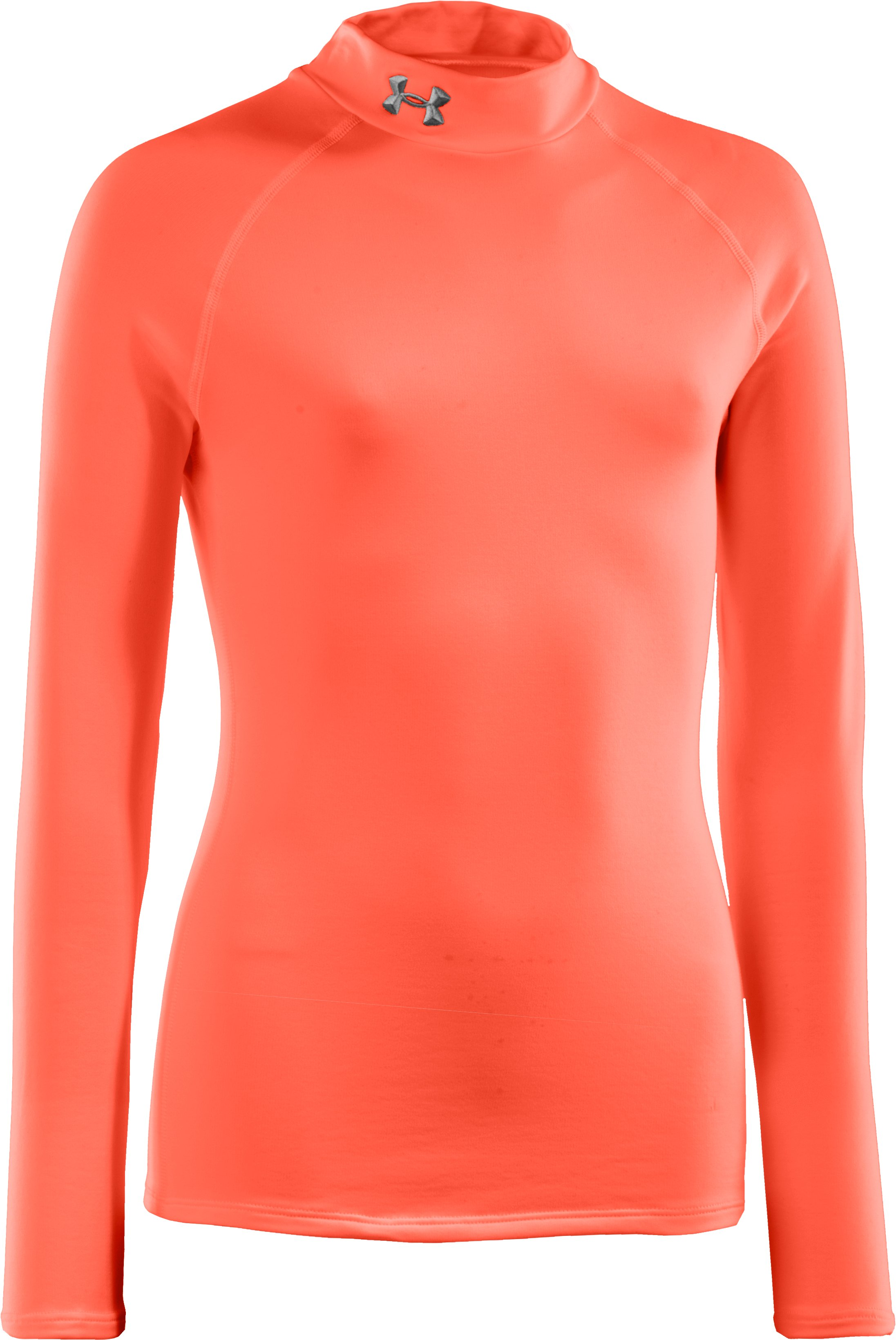 Girls' ColdGear® Fitted Long Sleeve Mock, ELECTRIC TANGERINE, zoomed image