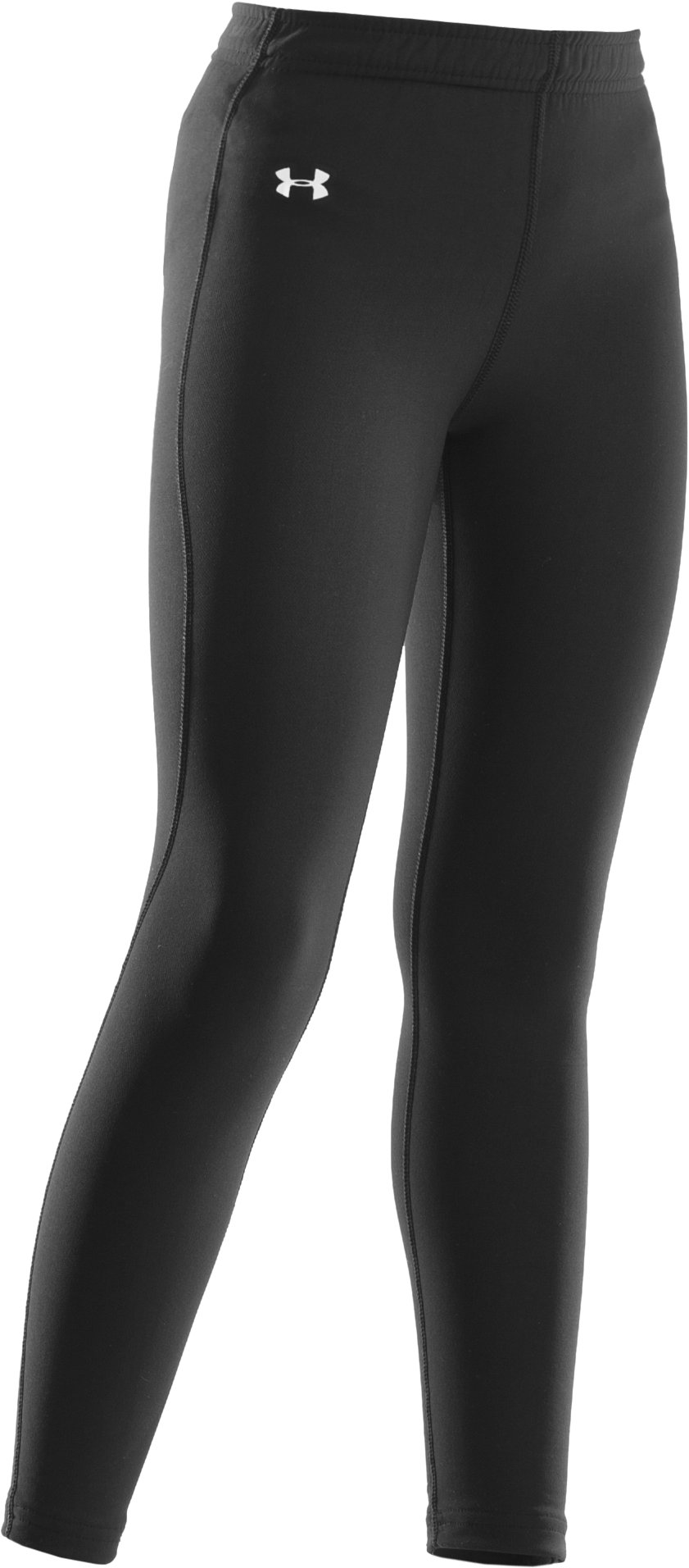 Girls' ColdGear® Fitted Leggings, Black , zoomed image