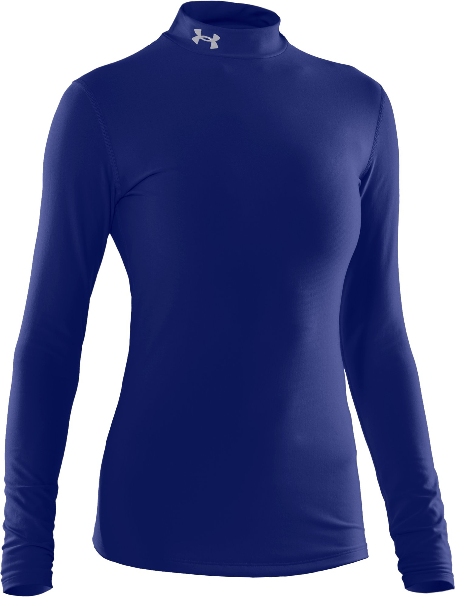Women's UA ColdGear® Long Sleeve Compression Mock, Royal, undefined