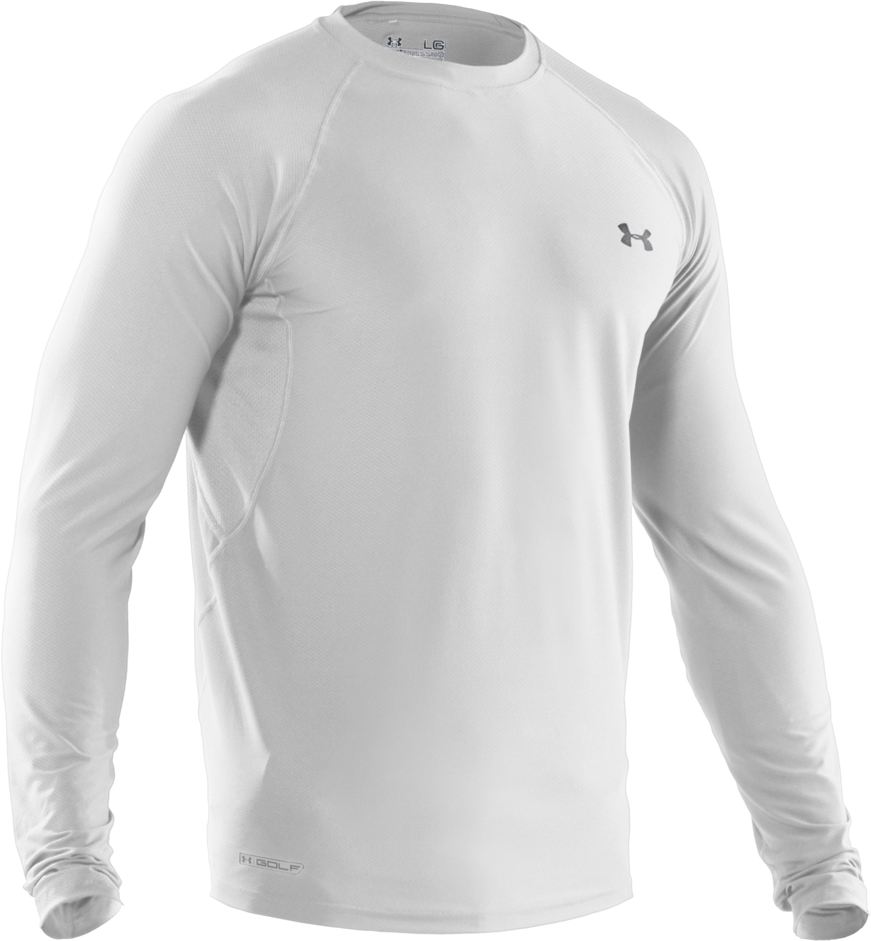 Men's HeatGear® Fitted Long Sleeve Layering Golf Shirt, White, undefined