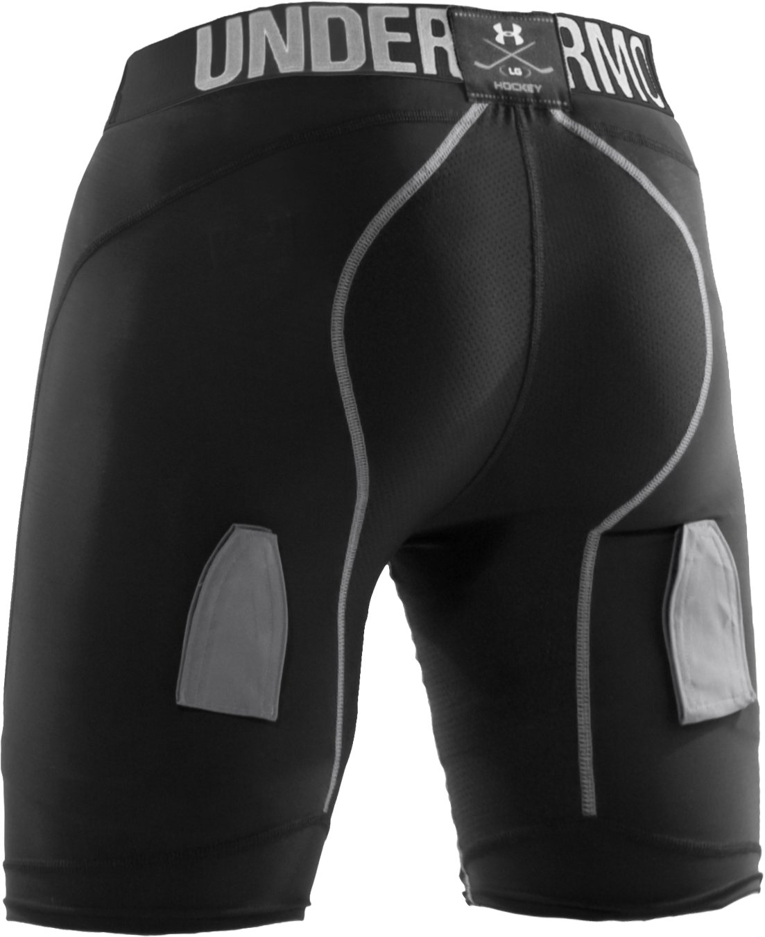 Men's Hockey Compression Shorts W/Cup, Black , undefined