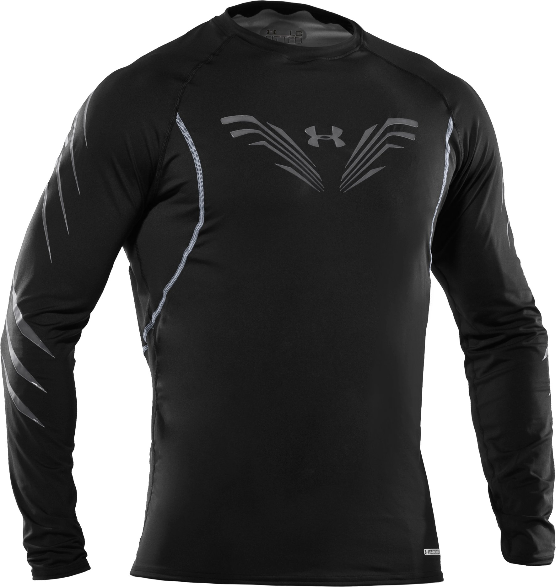 Men's Fitted Hockey Long Sleeve Shirt, Black