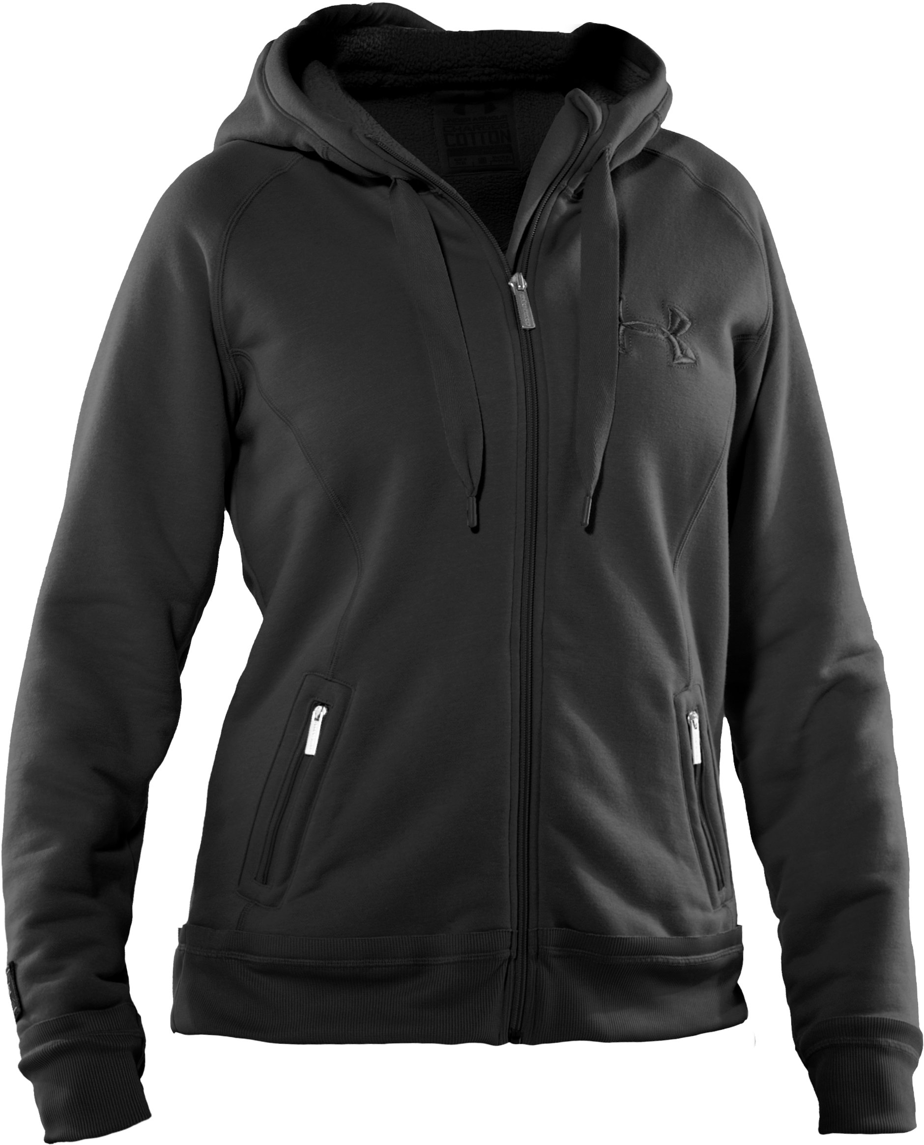 Women's UA Charged Cotton® Storm Sherpa Full Zip Hoodie, Black , undefined