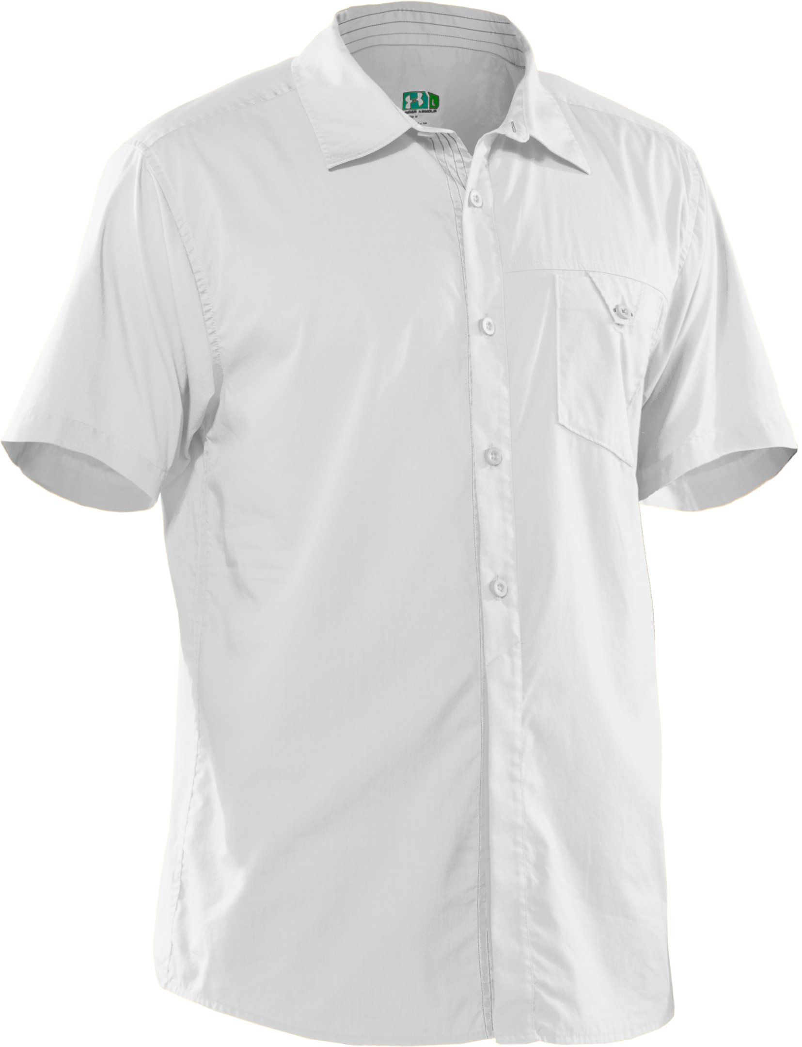 Men's UA Pin Drop Woven Solid Short Sleeve, White