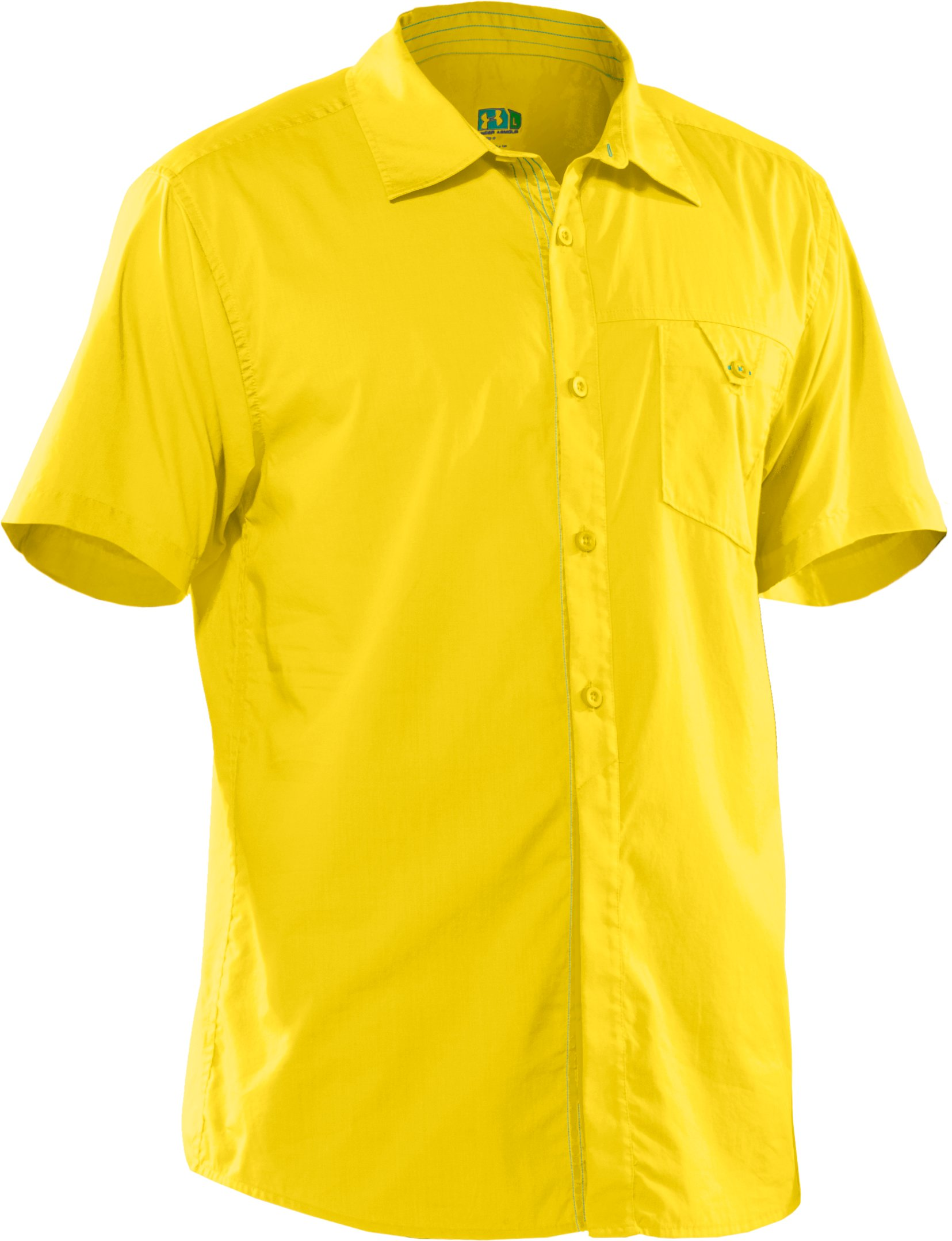 Men's UA Pin Drop Woven Solid Short Sleeve, Lemonade