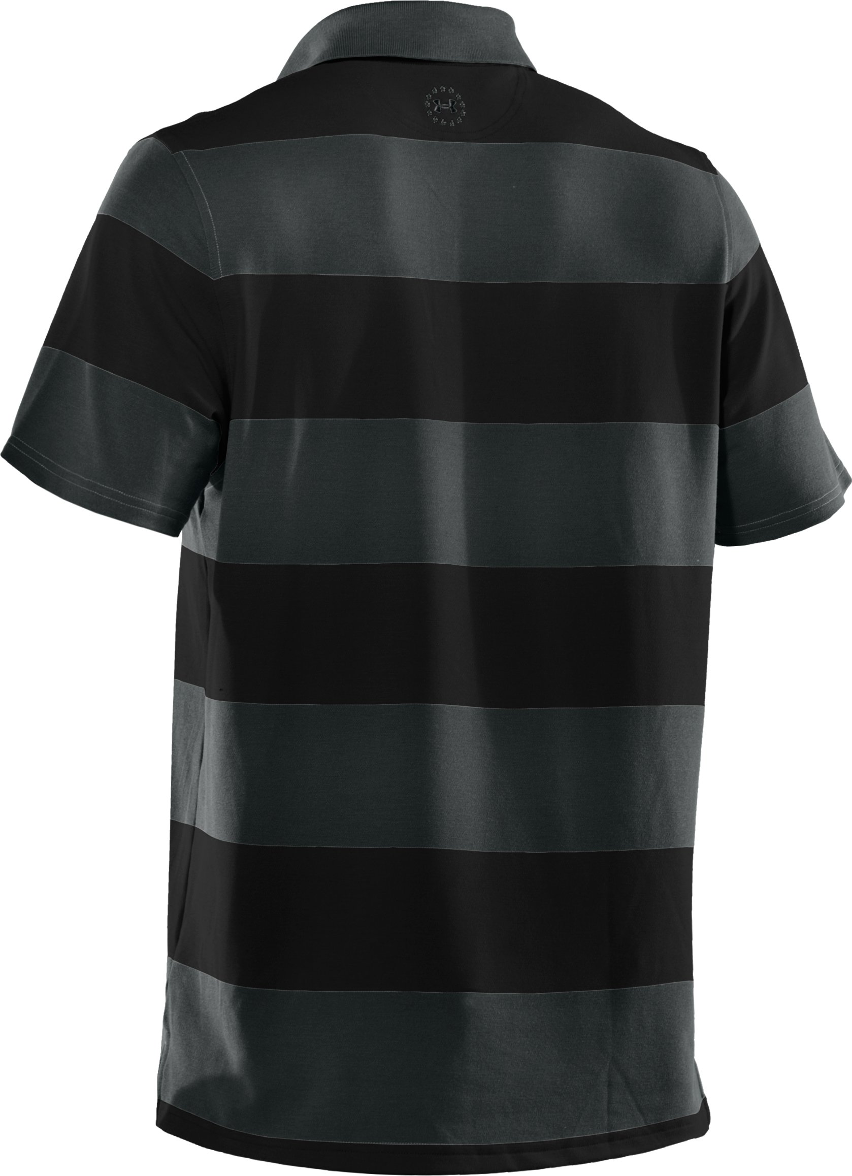 Men's WWP Stripe Polo, Black ,