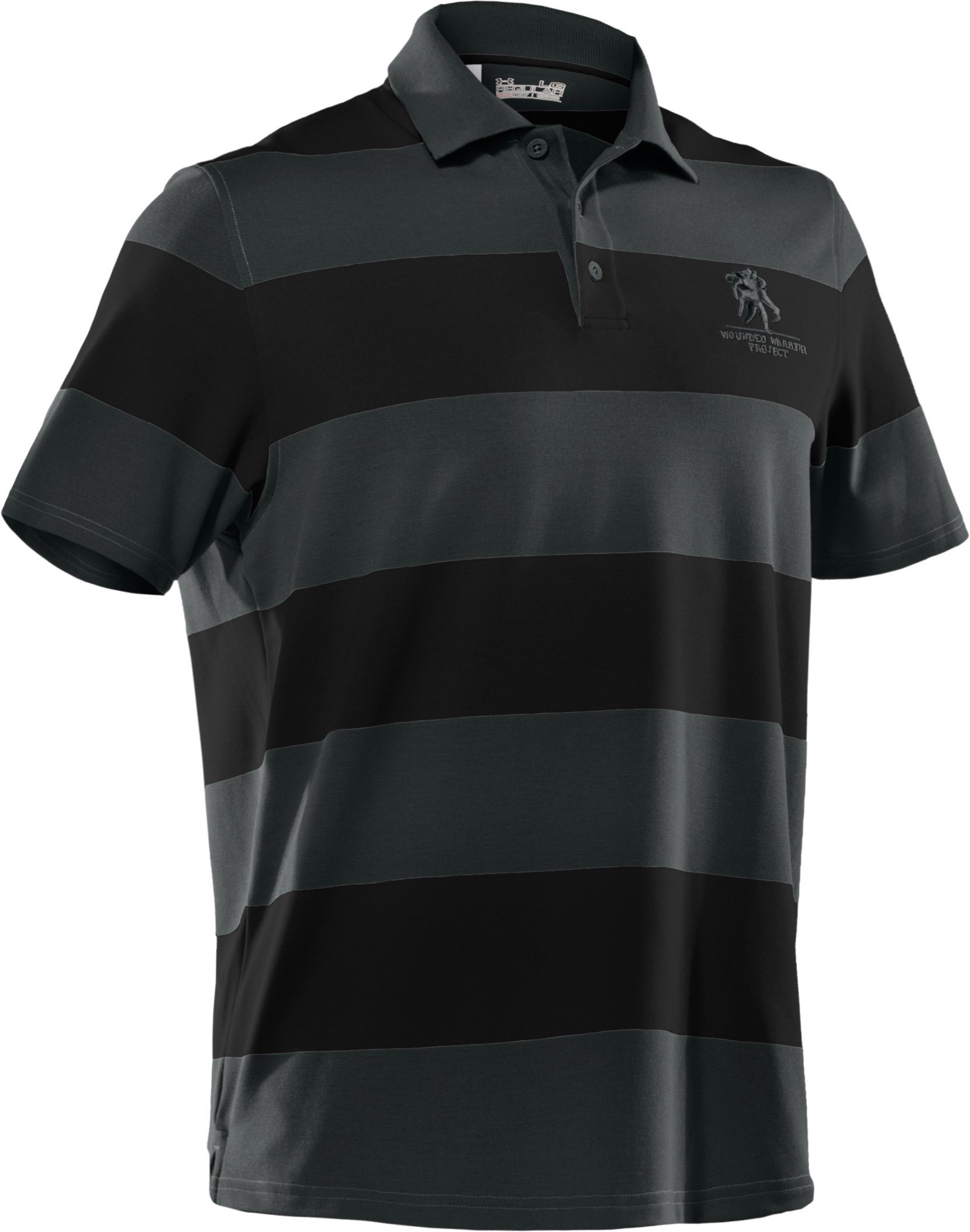Men's WWP Stripe Polo, Black , undefined
