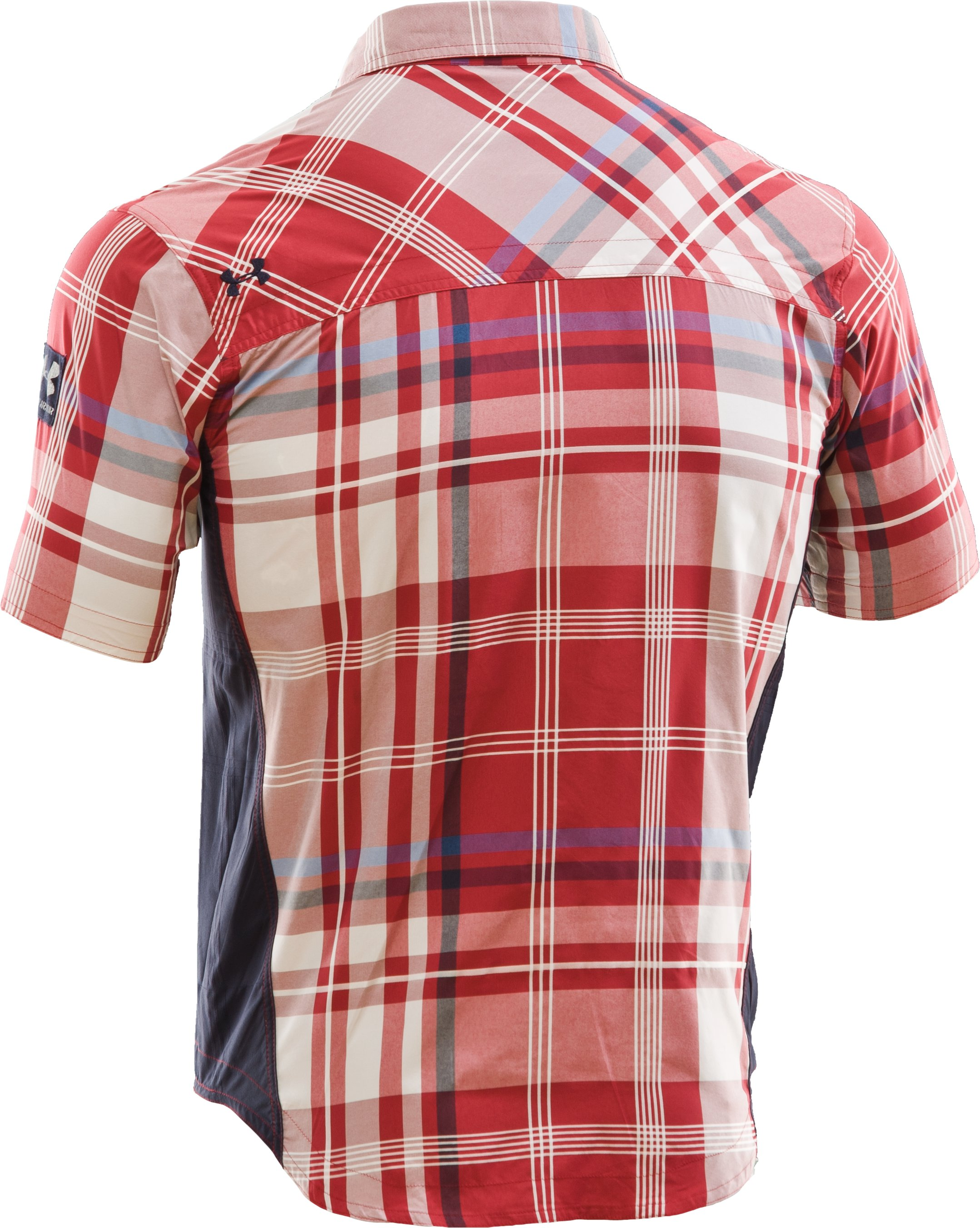 Men's Big Plaid Woven Short Sleeve Shirt, Crimson