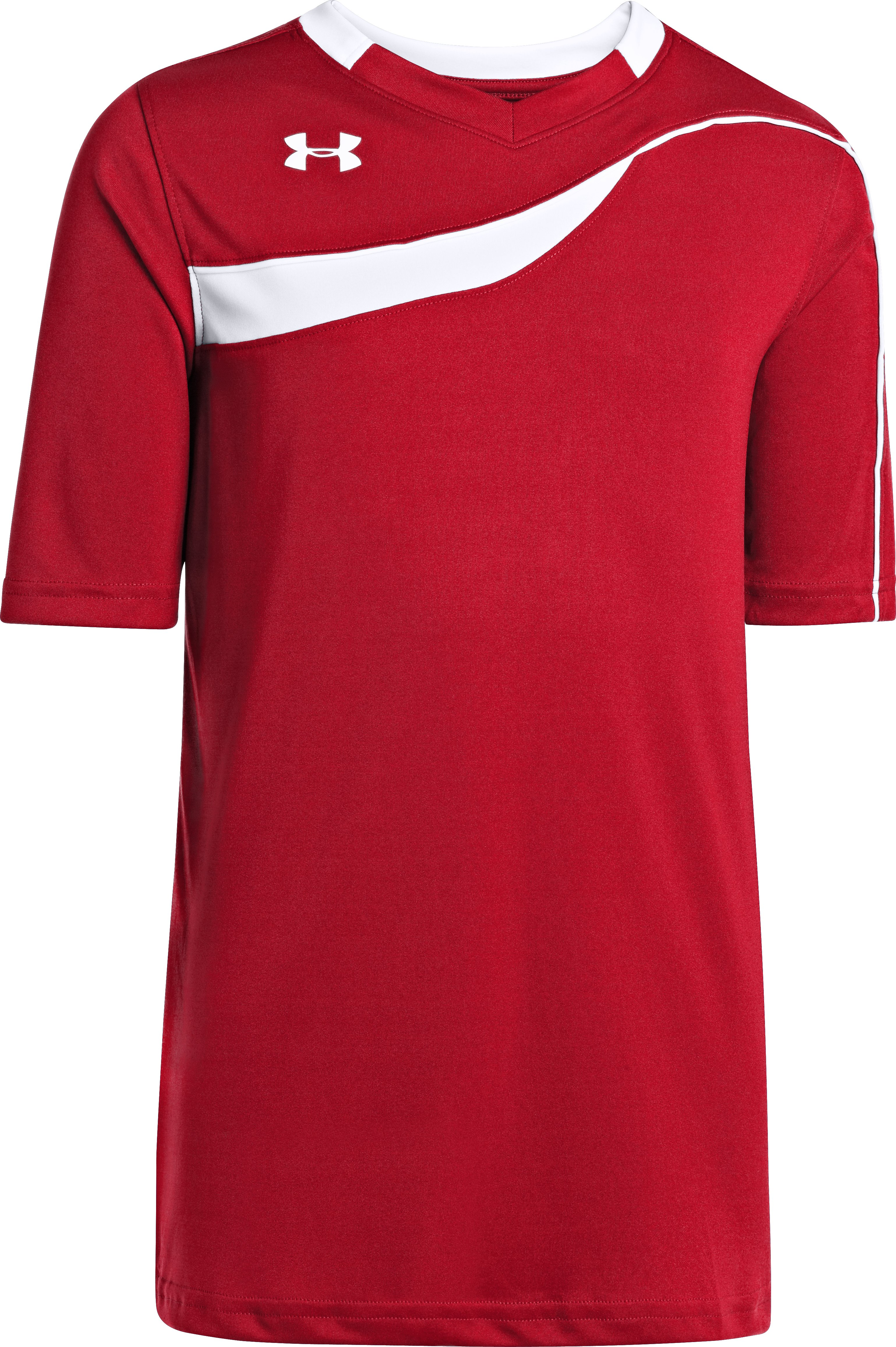 Boys' UA Chaos Short Sleeve Soccer Jersey, Red