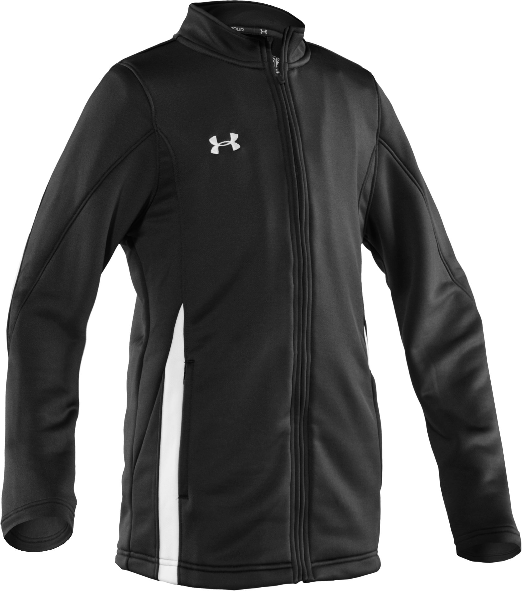Boys' UA Classic Knit Warm-Up Jacket, Black , zoomed image