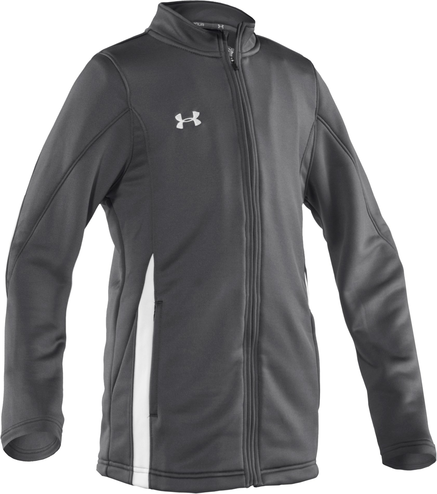 Boys' UA Classic Knit Warm-Up Jacket, Graphite, zoomed image
