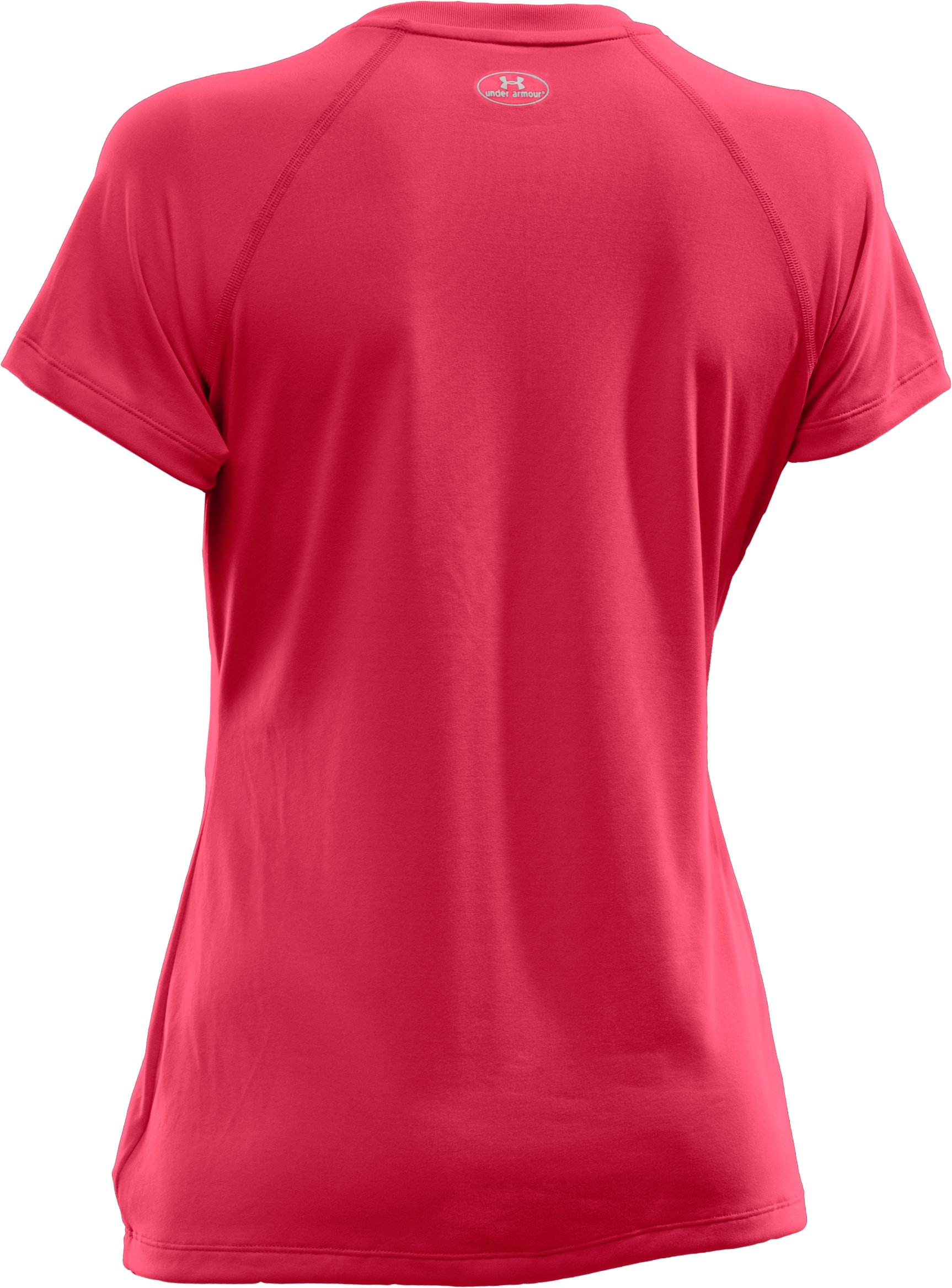 Women's UA Tech™ Short Sleeve V-Neck, Hibiscus