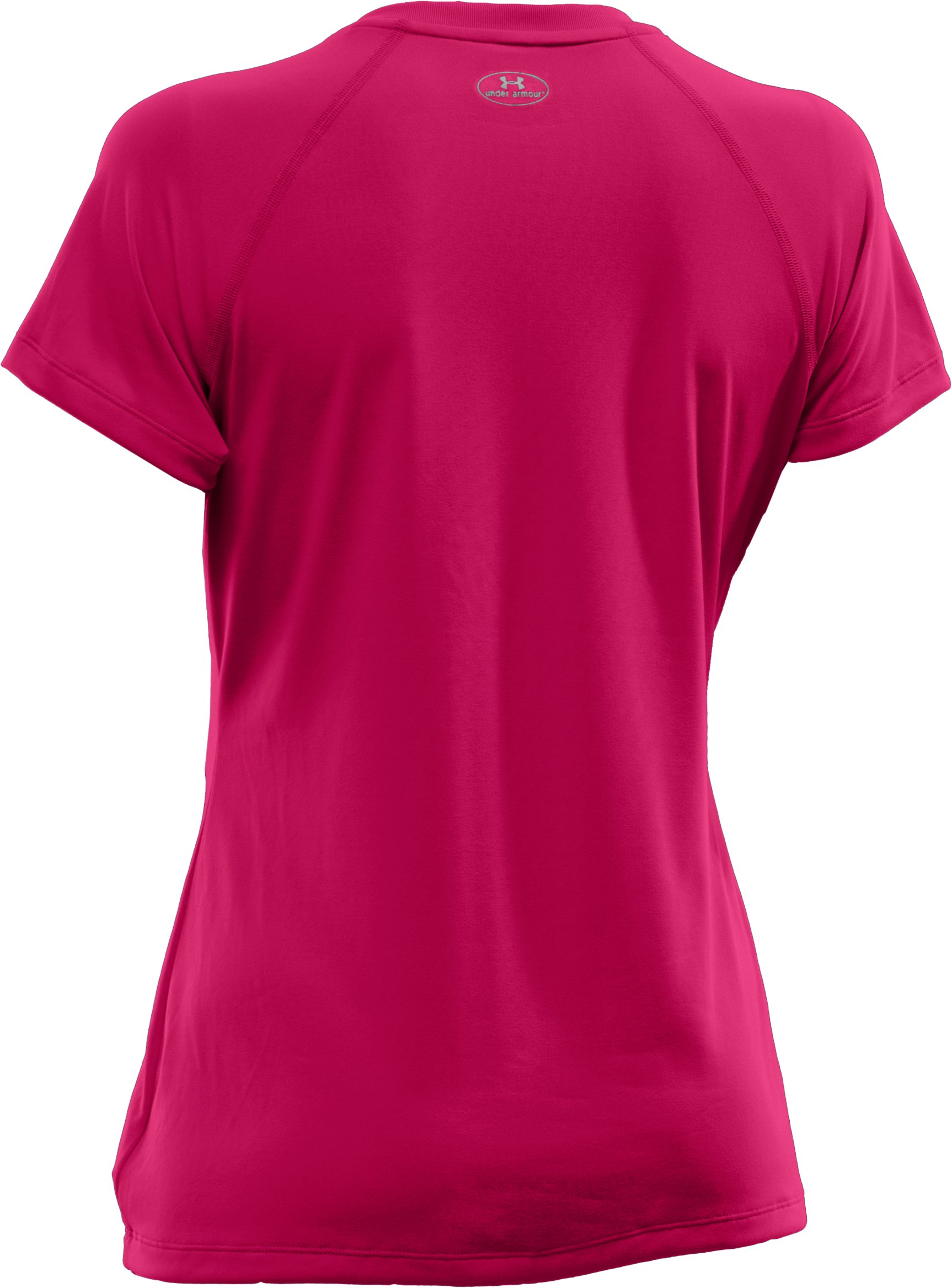 Women's UA Tech™ Short Sleeve V-Neck, EXUBERANT PINK