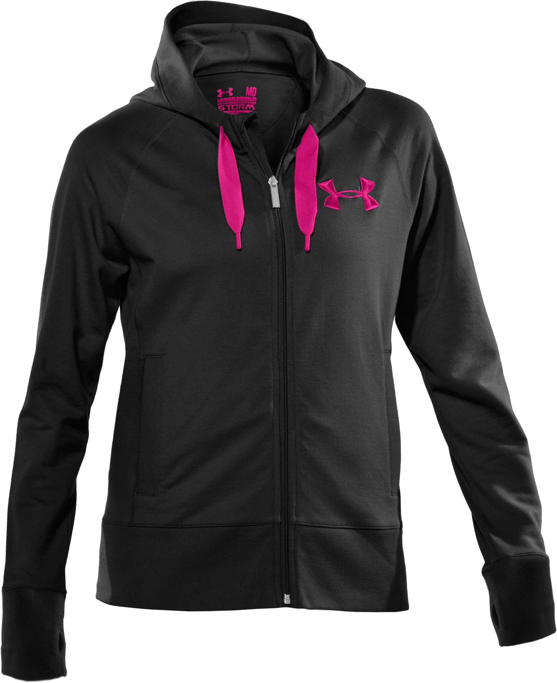 Women's UA Light Charged Cotton® Storm Full Zip, Black