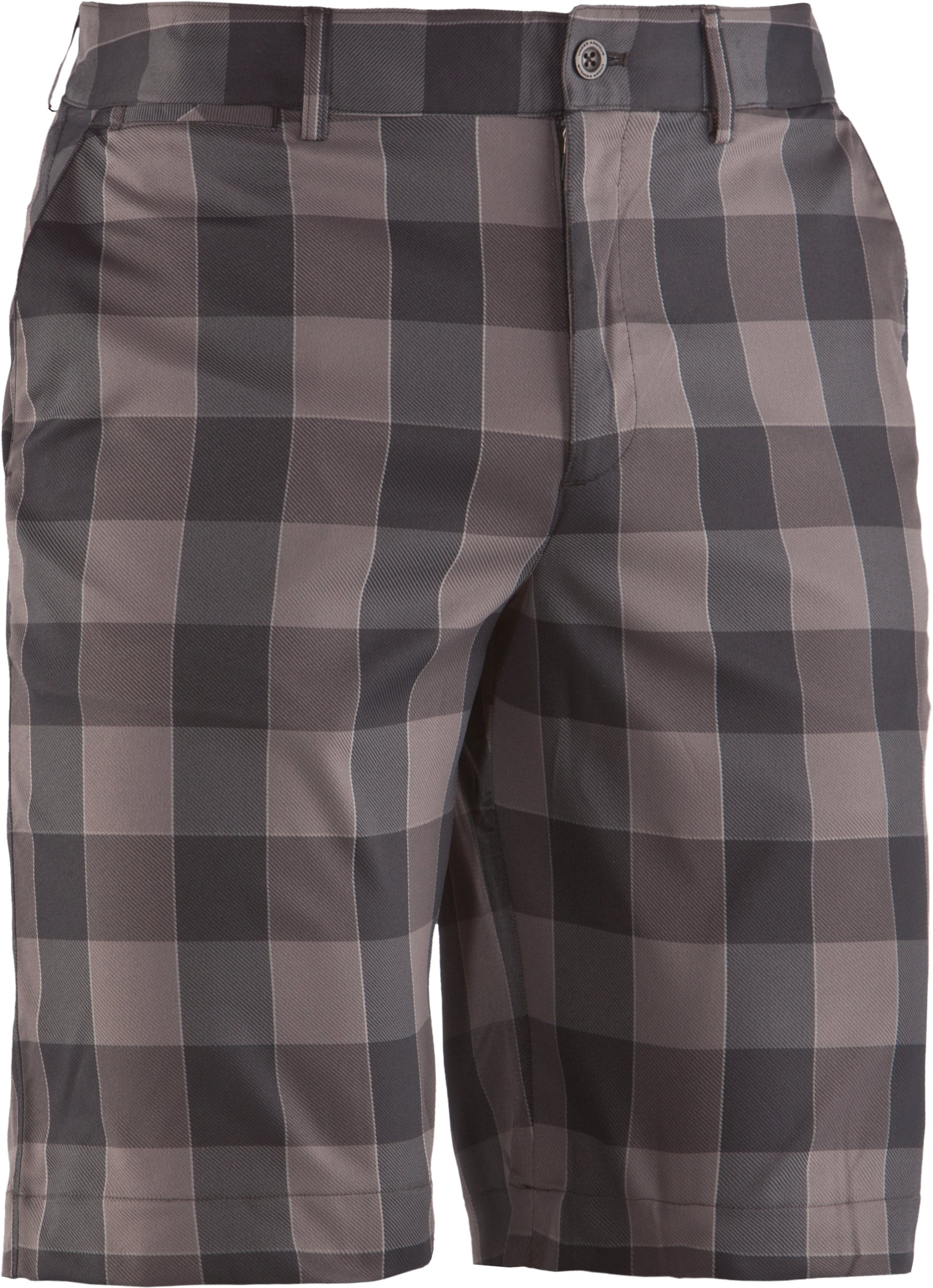 "Men's UA Square Plaid 10.5"" Golf Shorts, Black , undefined"